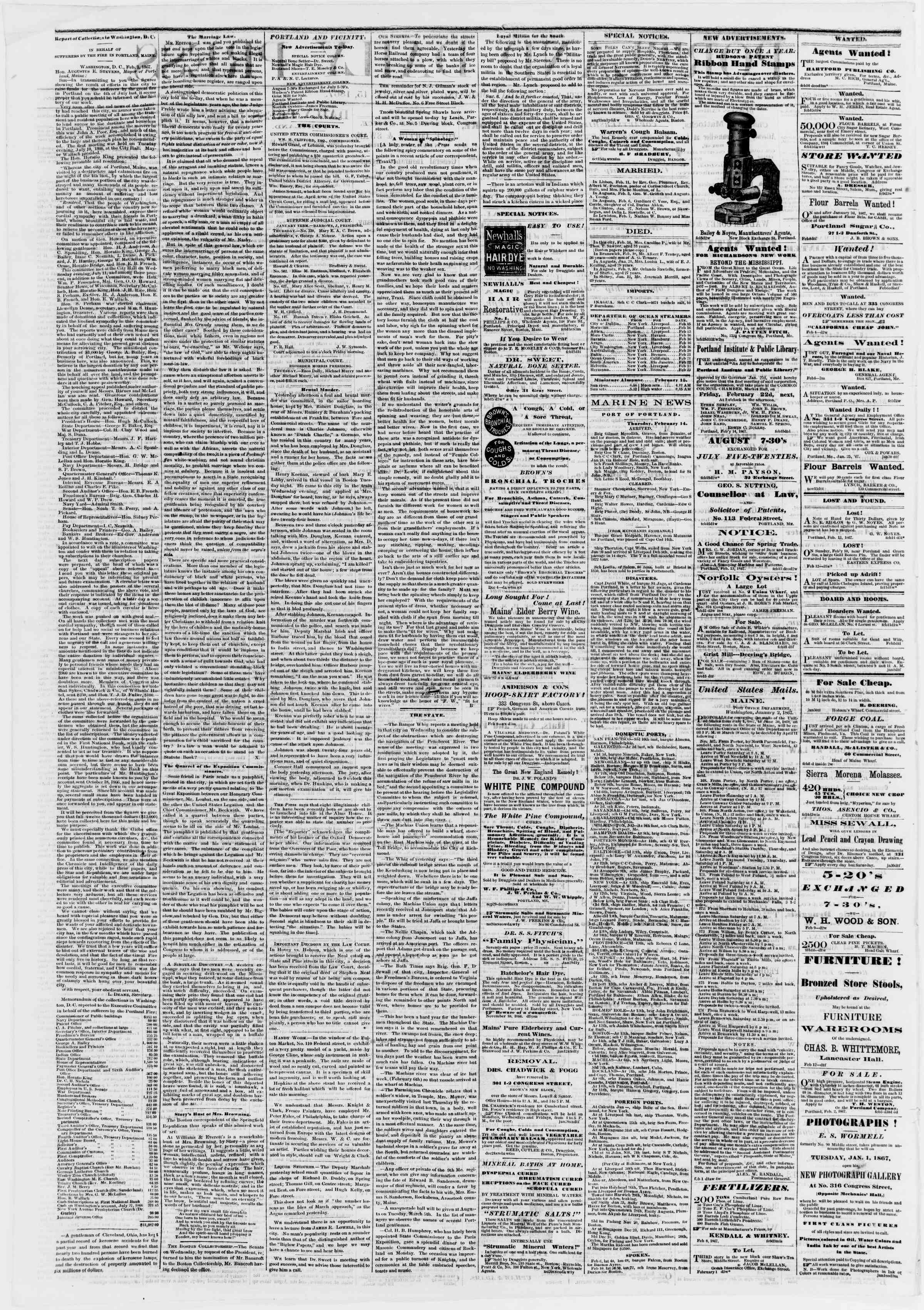 Newspaper of Portland Daily Press dated February 15, 1867 Page 2