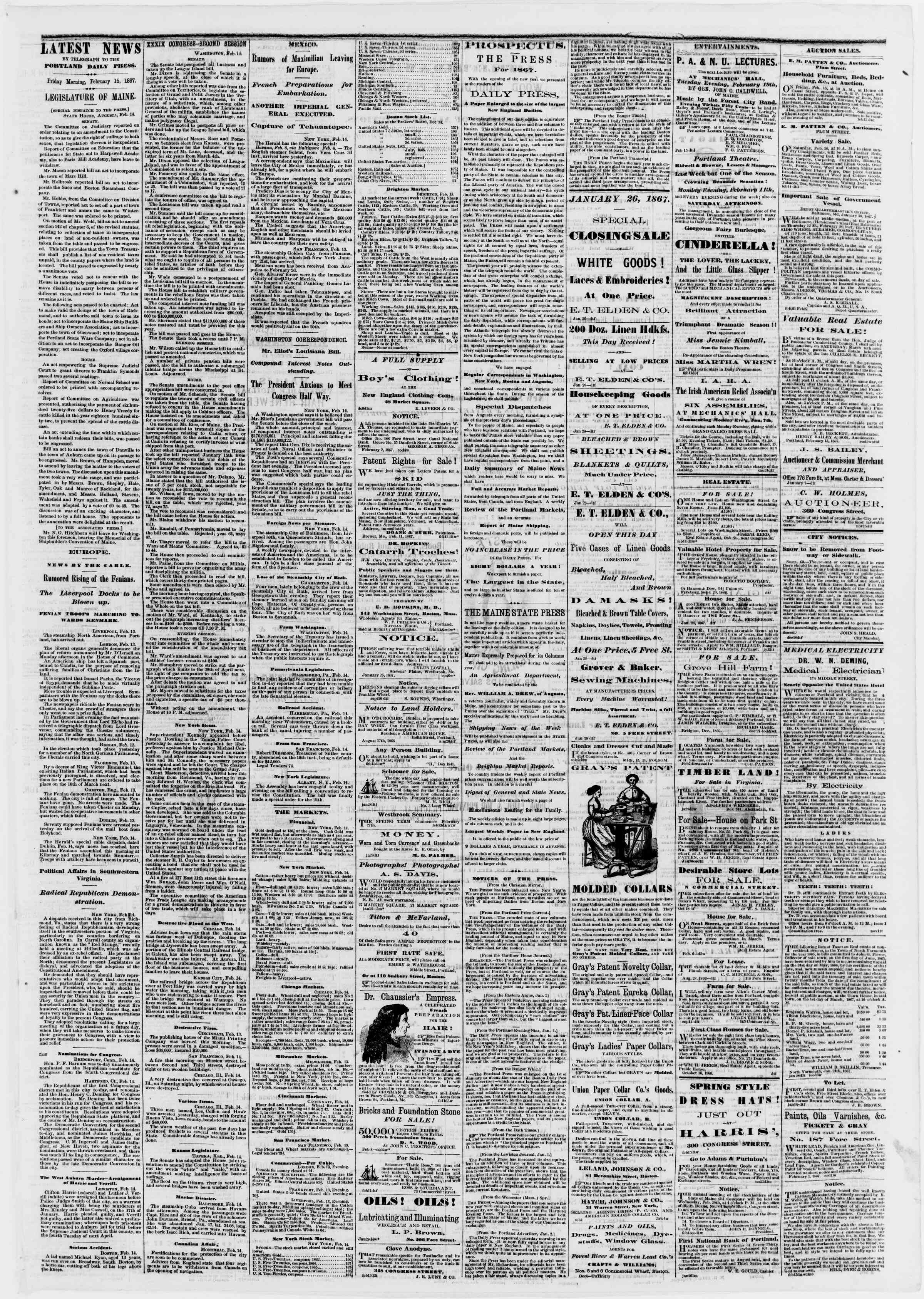 Newspaper of Portland Daily Press dated February 15, 1867 Page 3