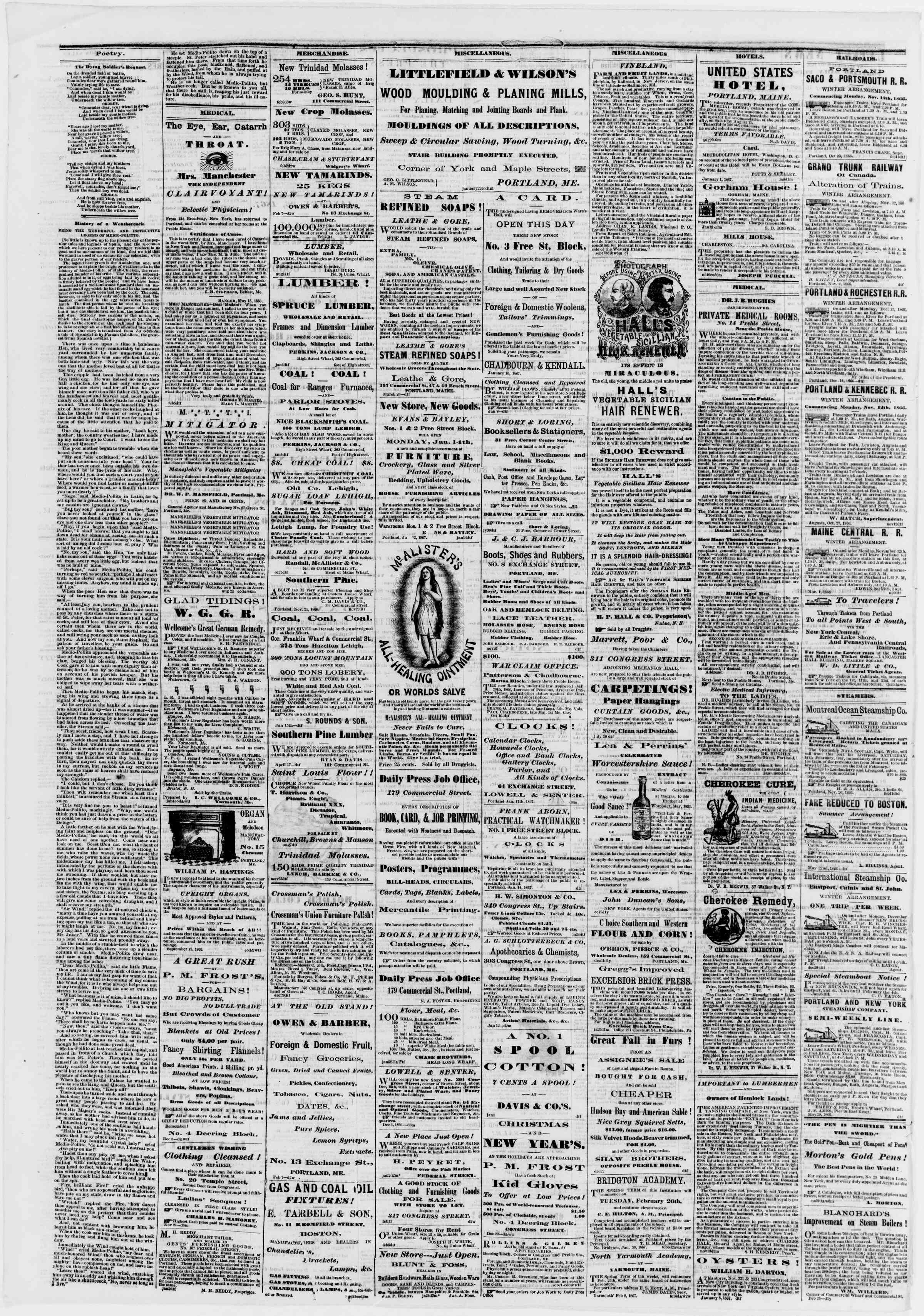 Newspaper of Portland Daily Press dated February 15, 1867 Page 4