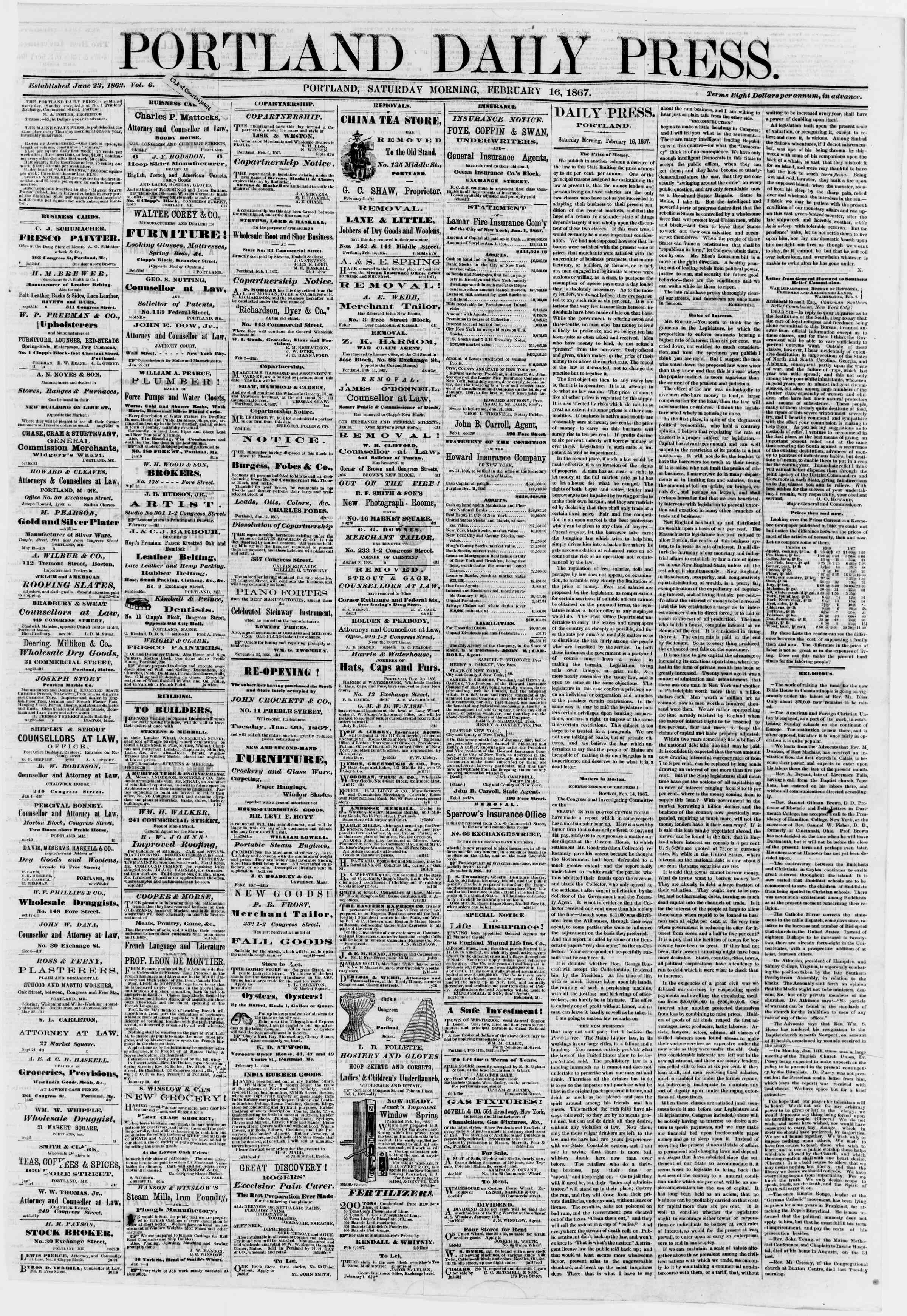 Newspaper of Portland Daily Press dated February 16, 1867 Page 1
