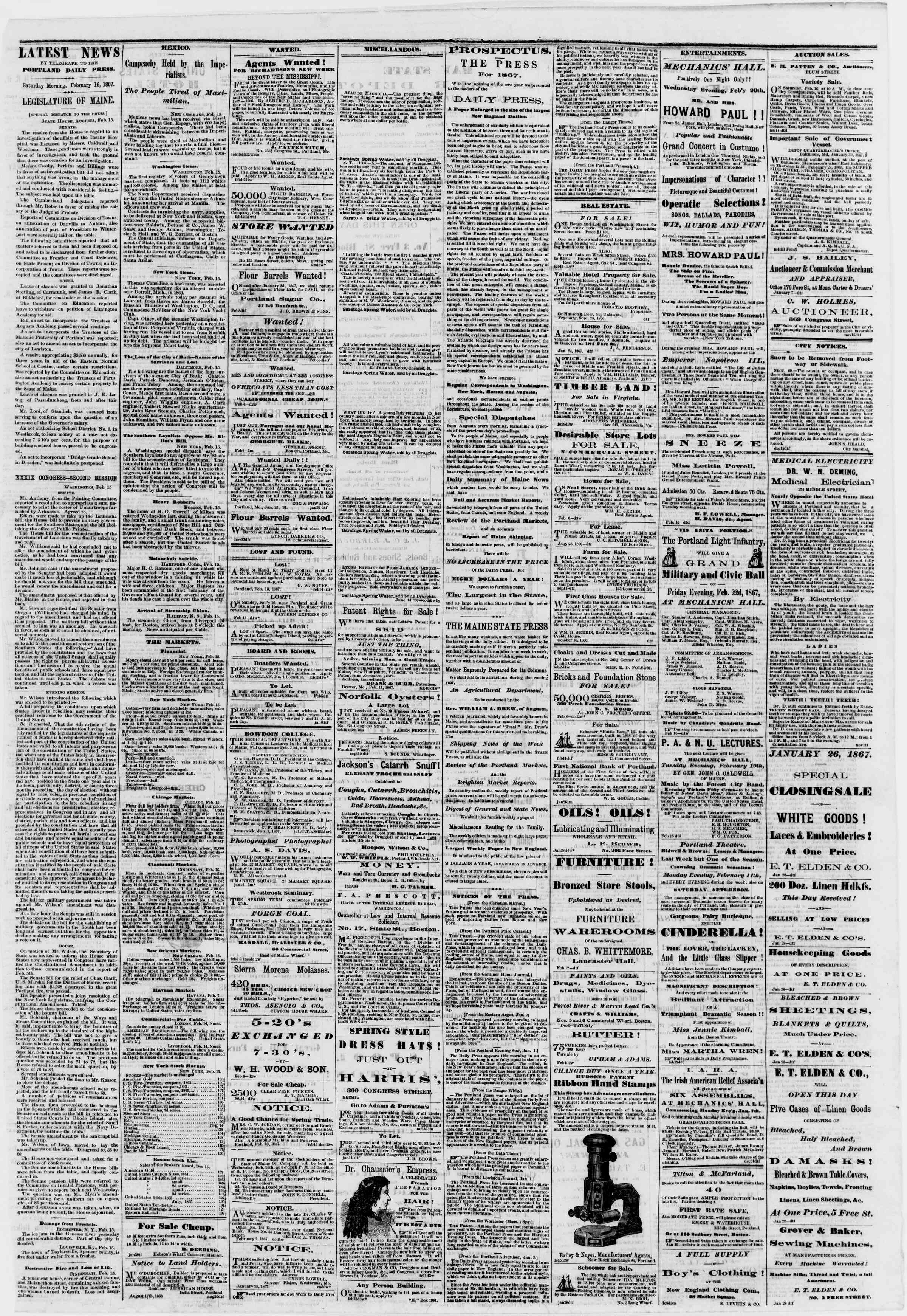 Newspaper of Portland Daily Press dated February 16, 1867 Page 3