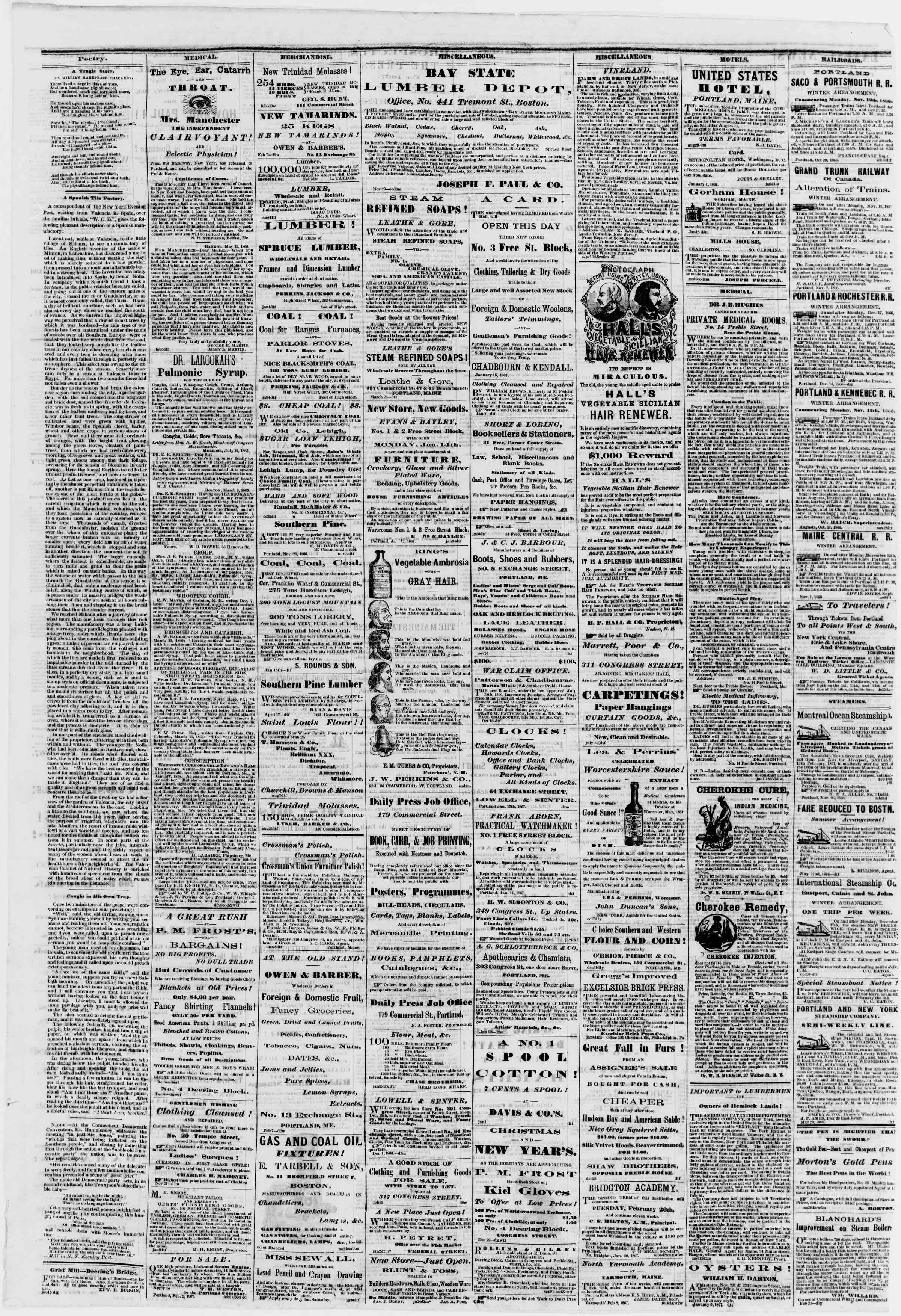 Newspaper of Portland Daily Press dated February 16, 1867 Page 4