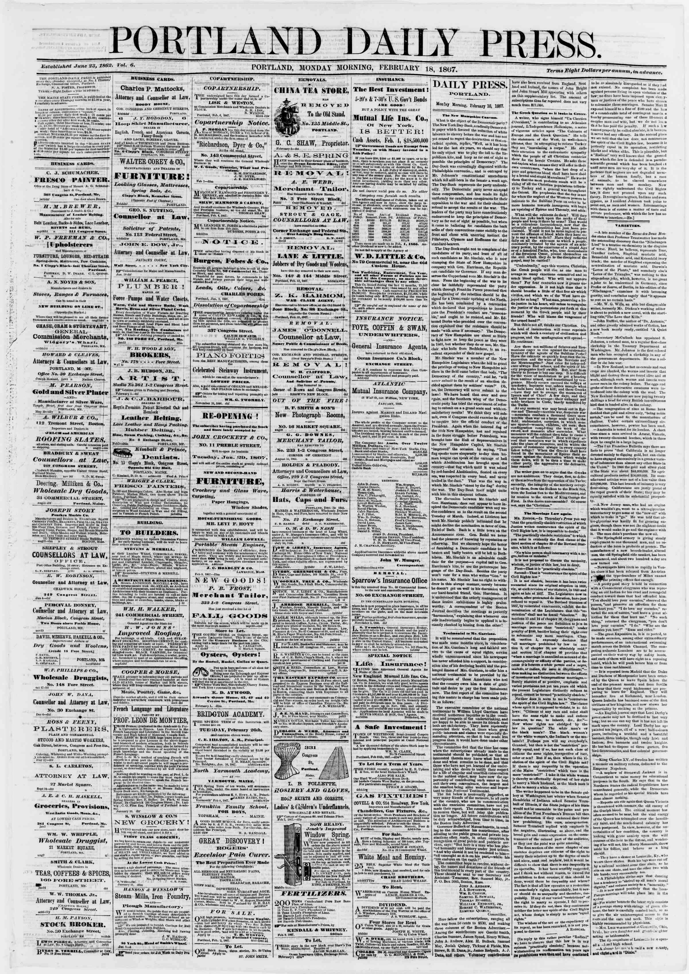 Newspaper of Portland Daily Press dated February 18, 1867 Page 1
