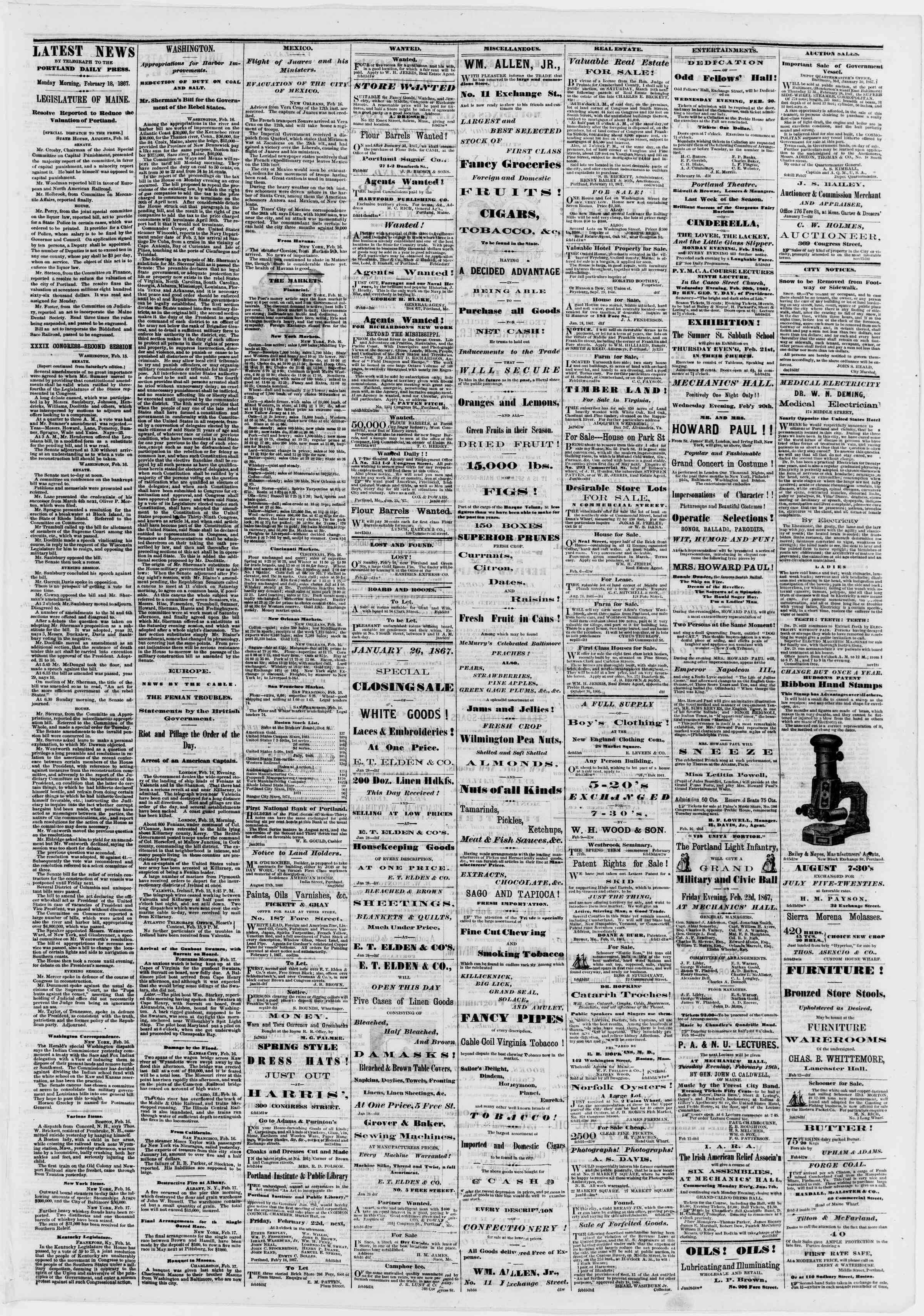 Newspaper of Portland Daily Press dated February 18, 1867 Page 3