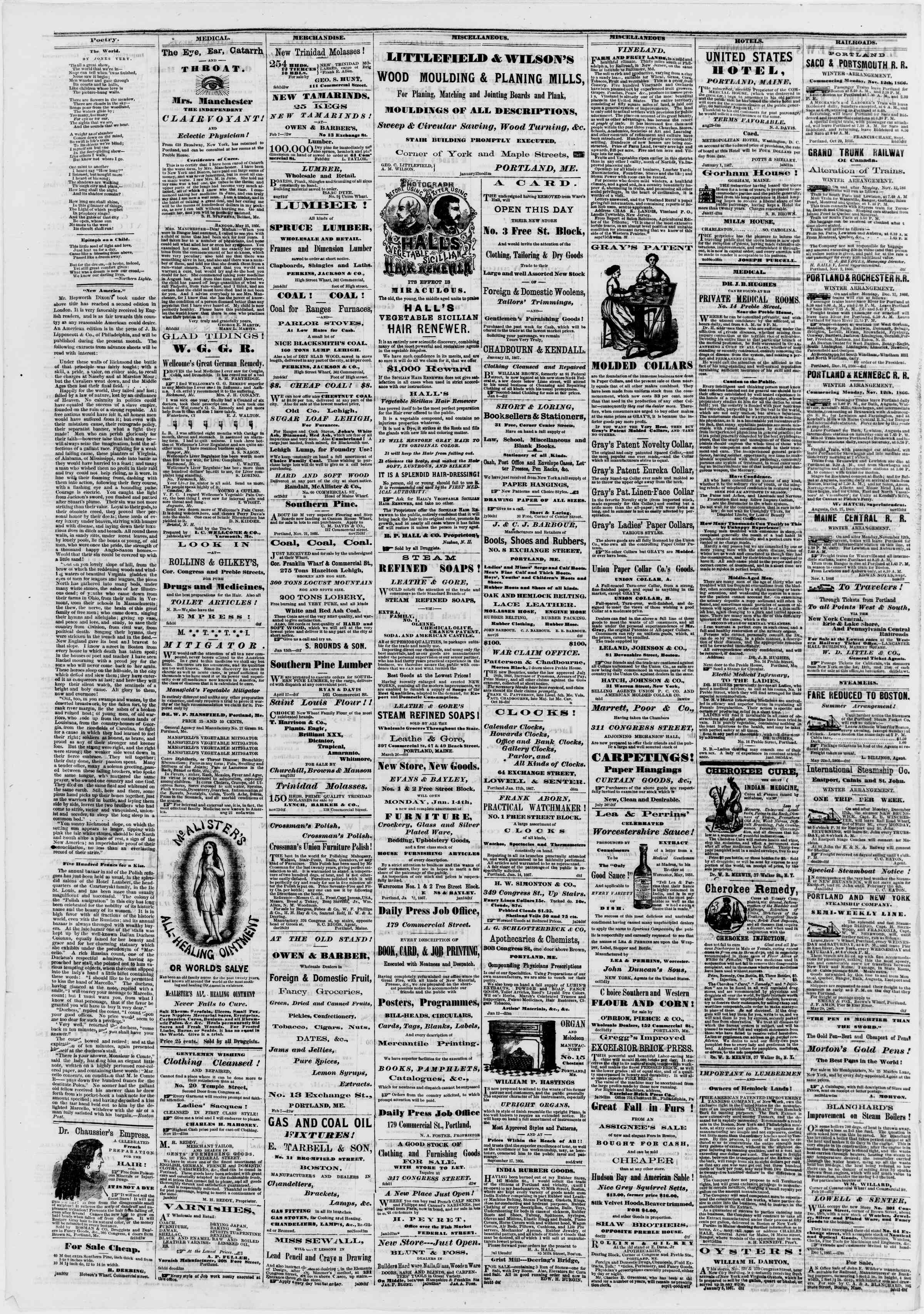 Newspaper of Portland Daily Press dated February 18, 1867 Page 4