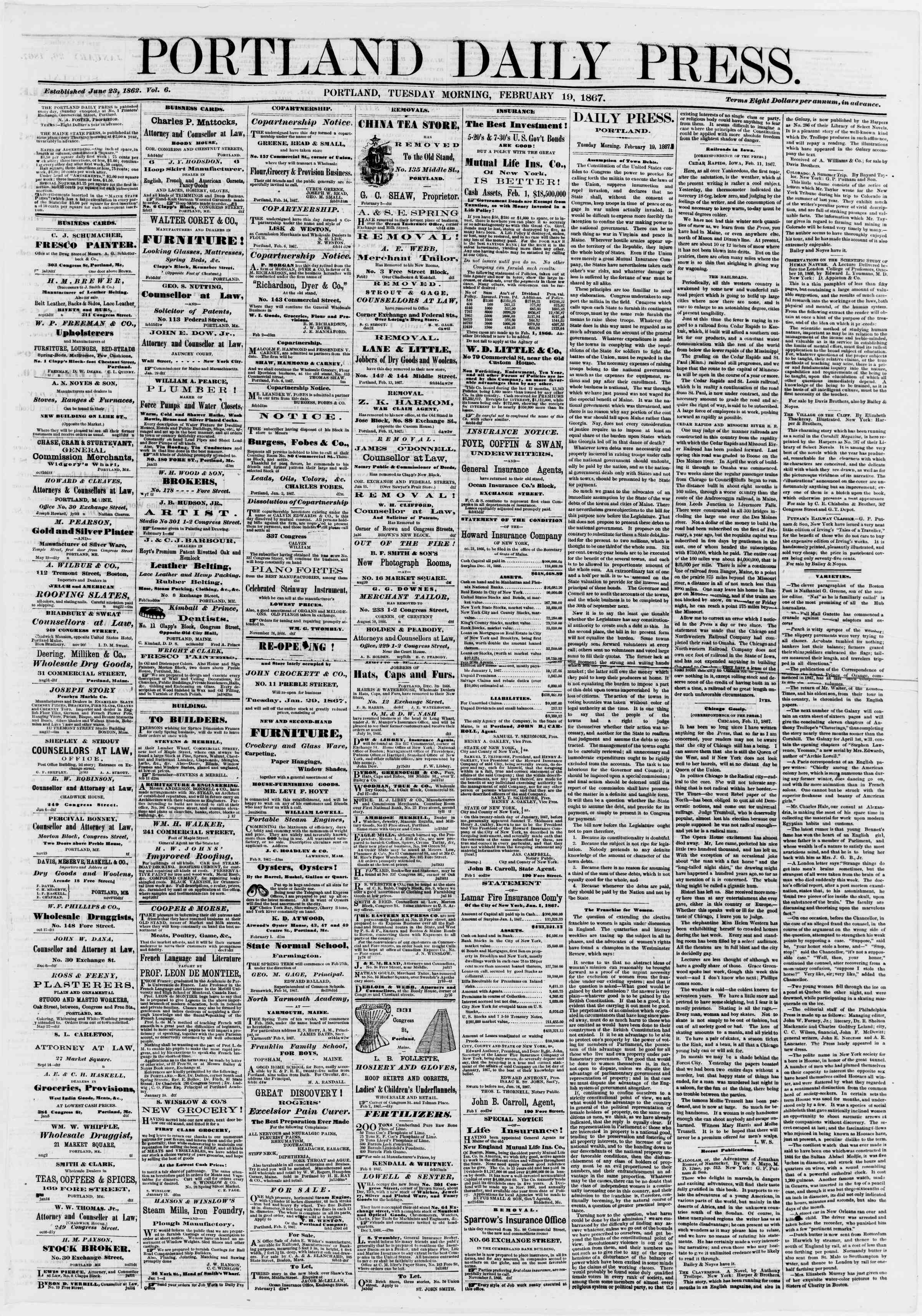 Newspaper of Portland Daily Press dated February 19, 1867 Page 1