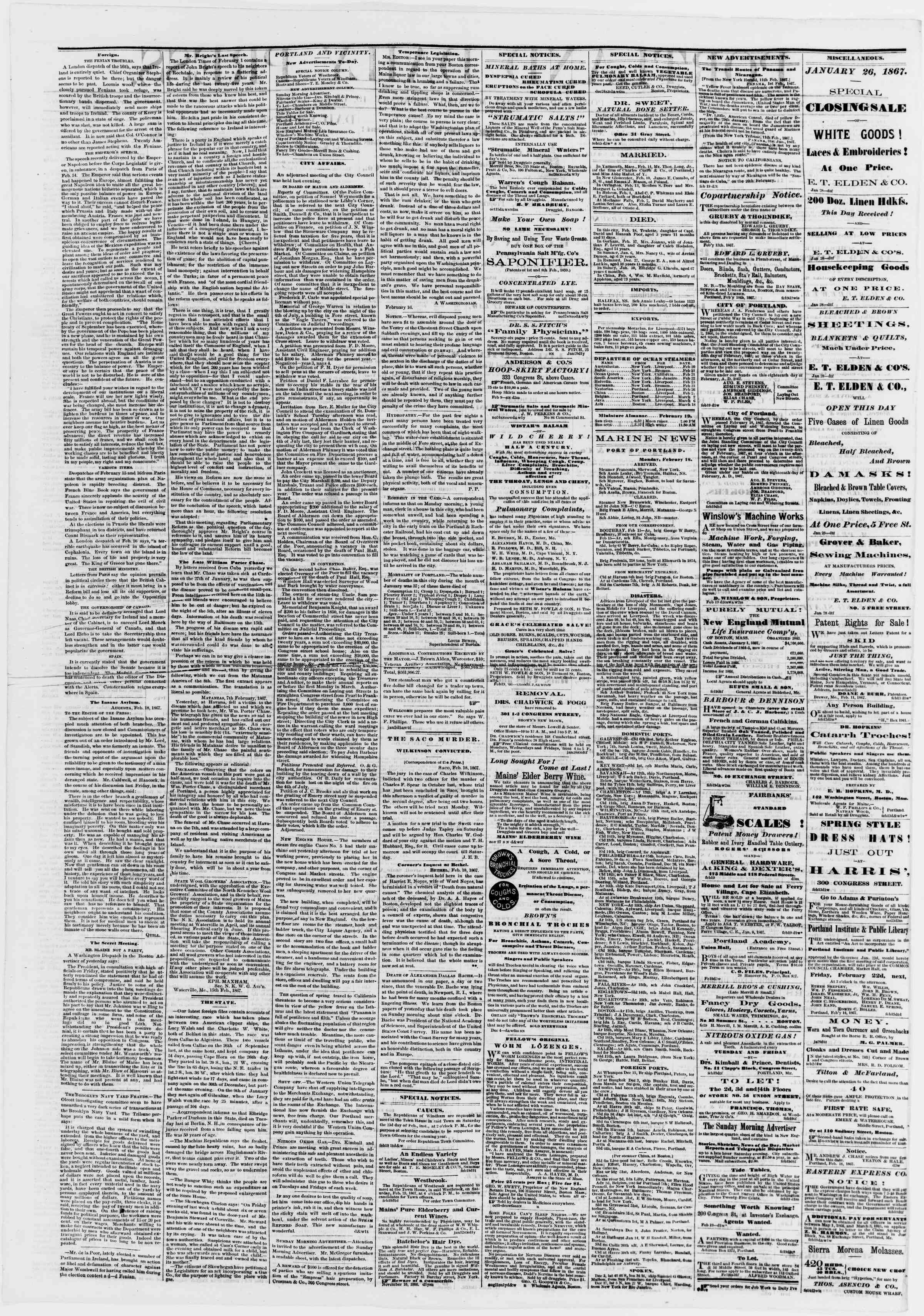Newspaper of Portland Daily Press dated February 19, 1867 Page 2