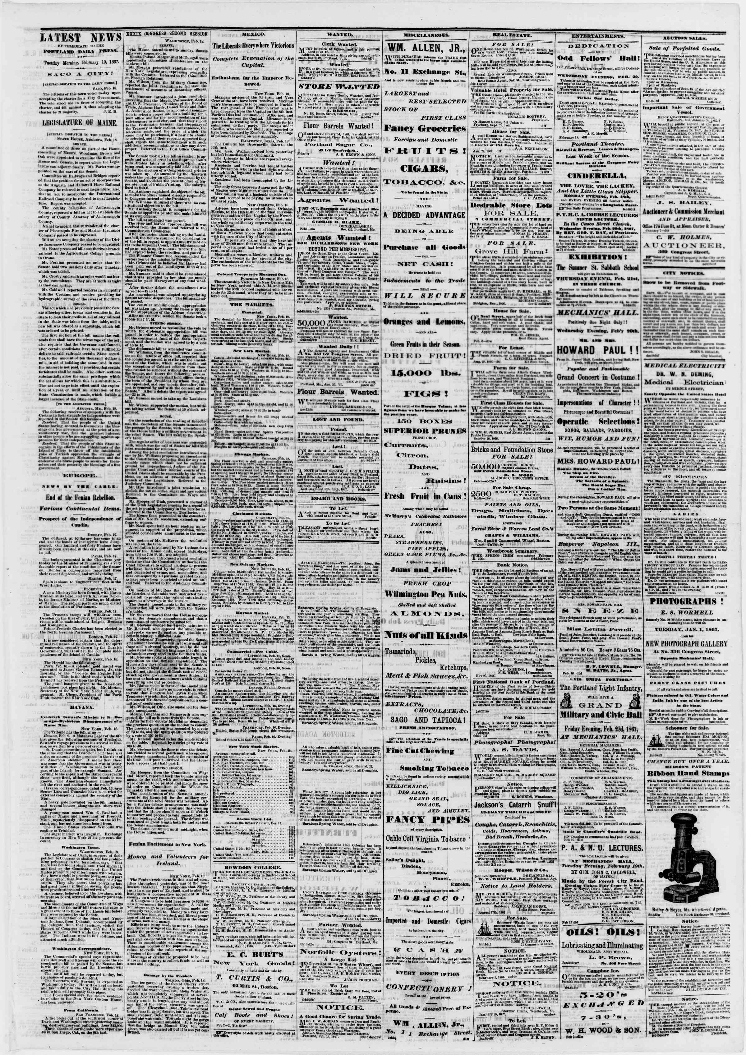 Newspaper of Portland Daily Press dated February 19, 1867 Page 3