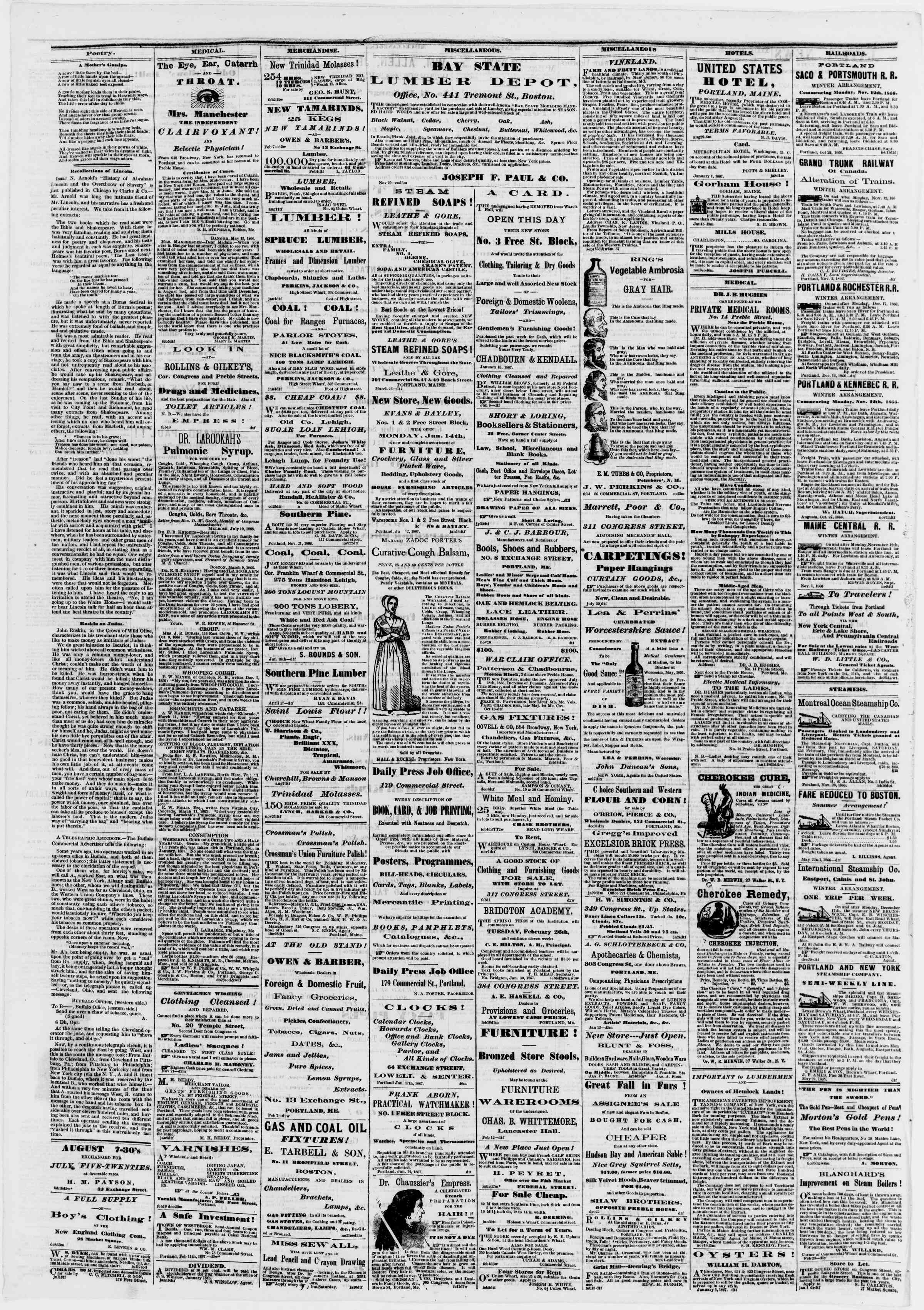 Newspaper of Portland Daily Press dated February 19, 1867 Page 4