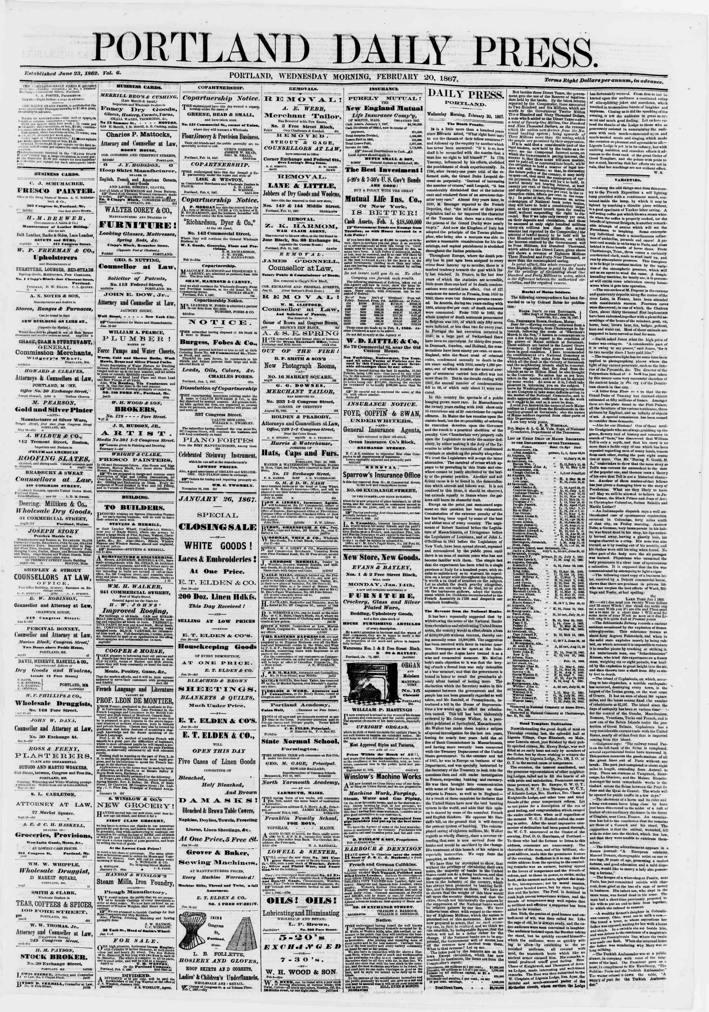 Newspaper of Portland Daily Press dated February 20, 1867 Page 1