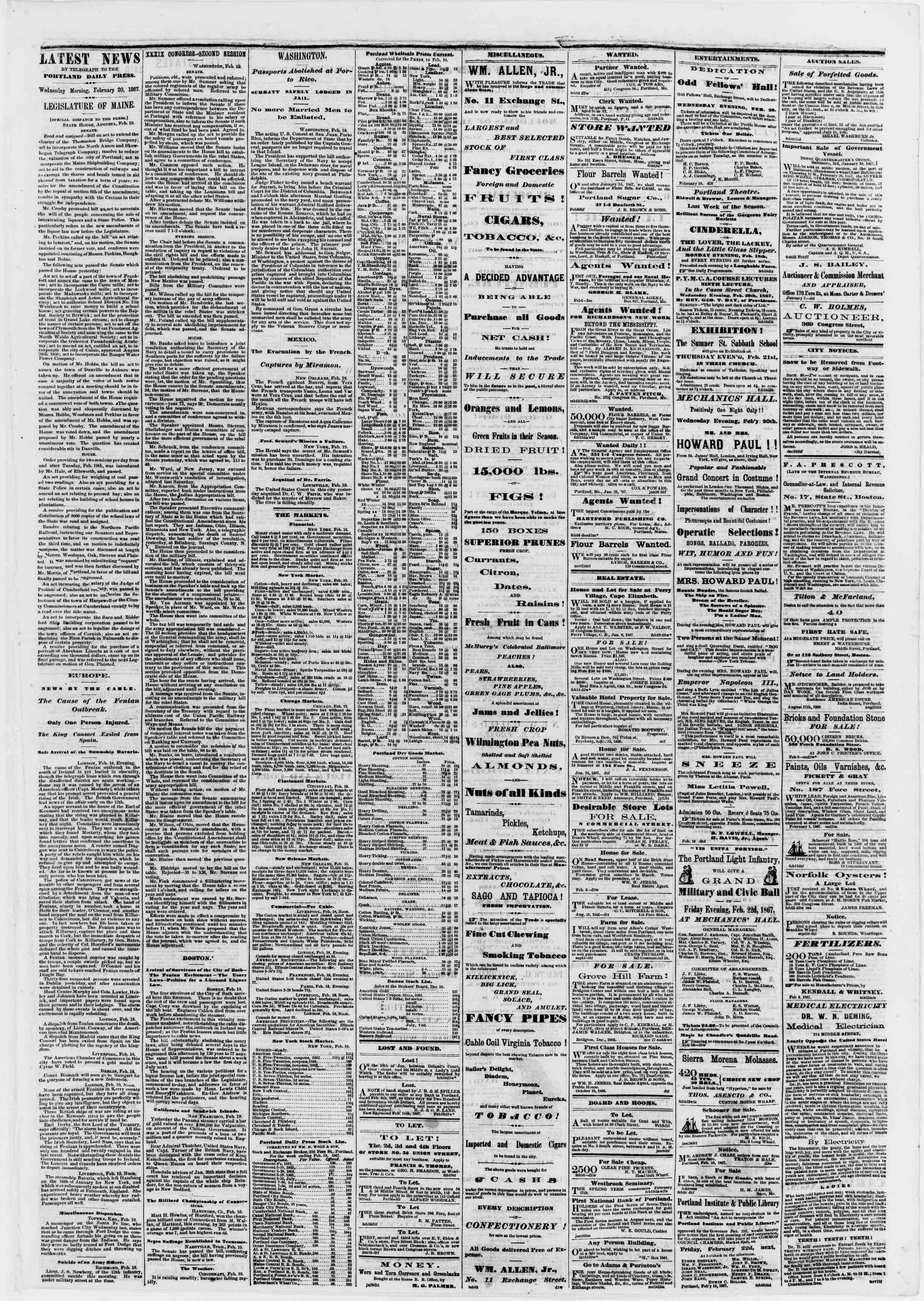 Newspaper of Portland Daily Press dated February 20, 1867 Page 3