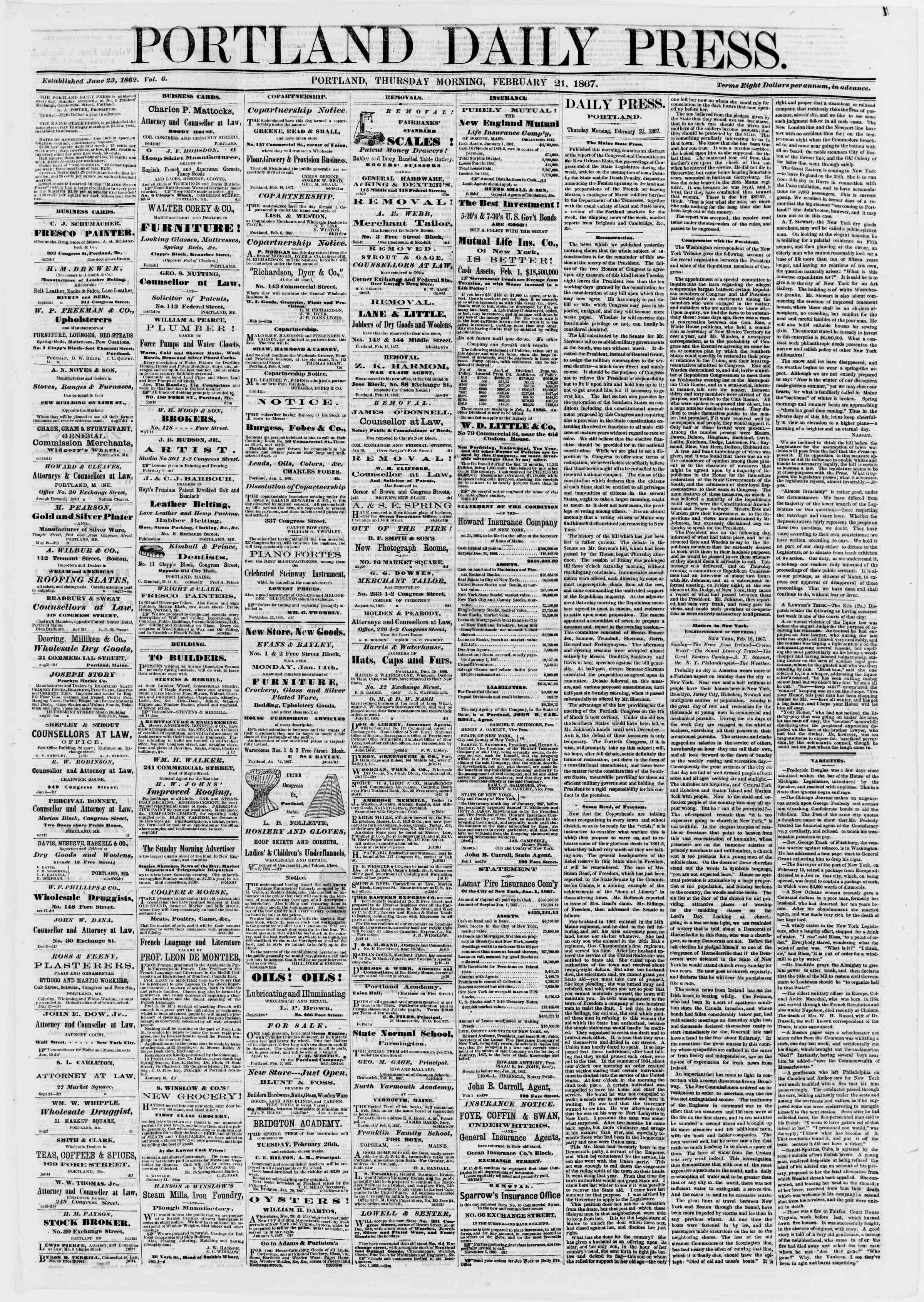 Newspaper of Portland Daily Press dated February 21, 1867 Page 1