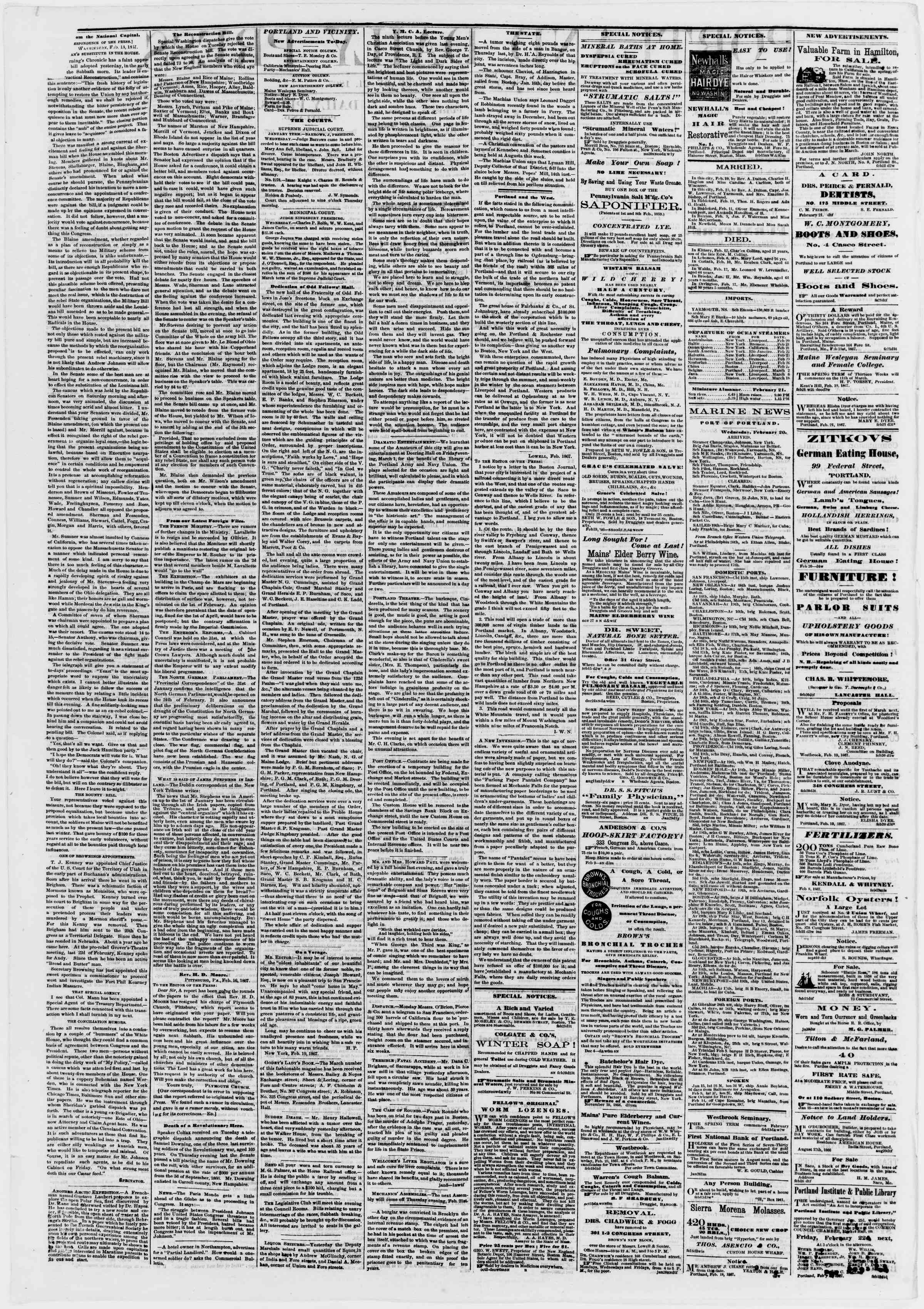 Newspaper of Portland Daily Press dated February 21, 1867 Page 2