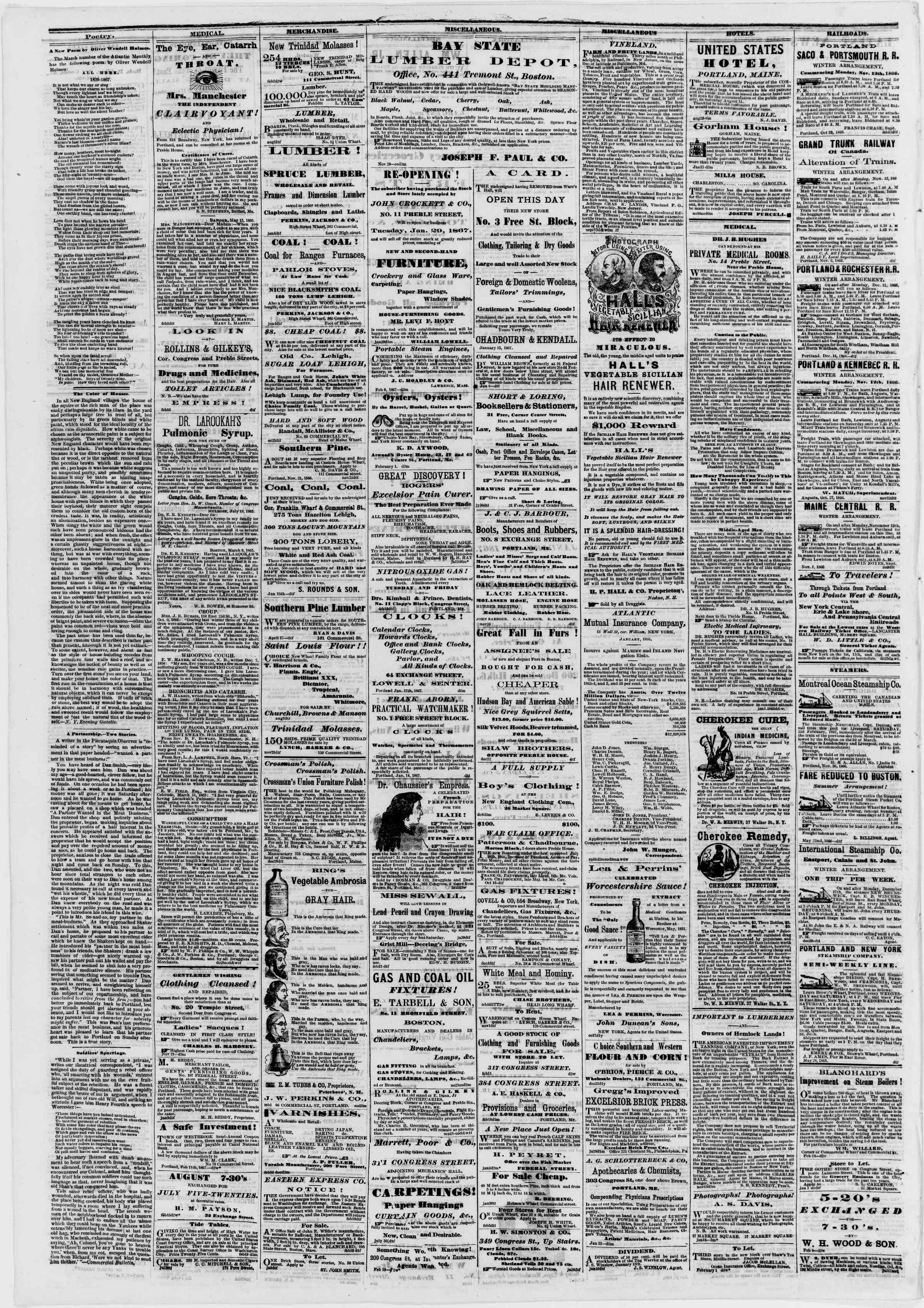 Newspaper of Portland Daily Press dated February 21, 1867 Page 4