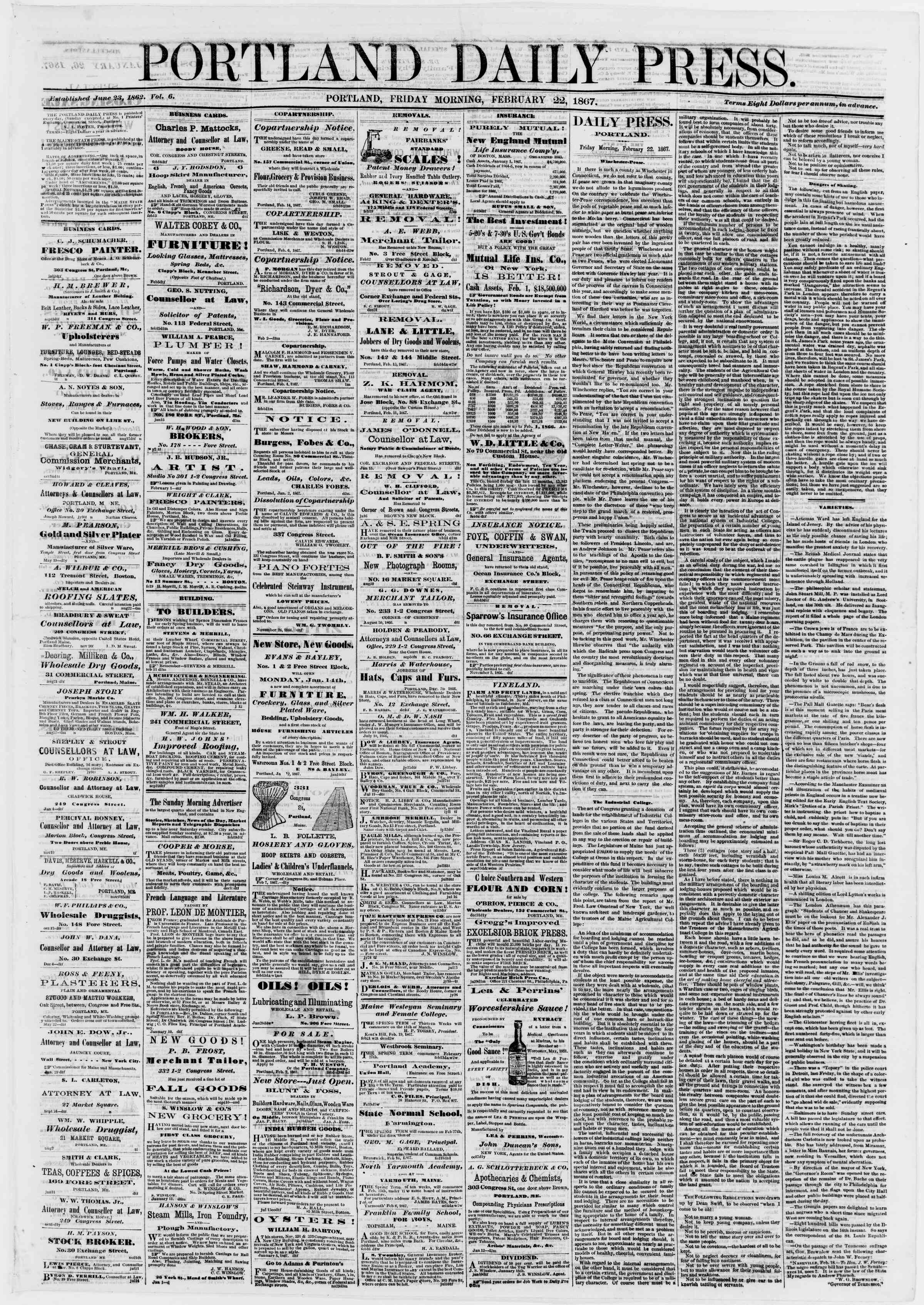 Newspaper of Portland Daily Press dated February 22, 1867 Page 1