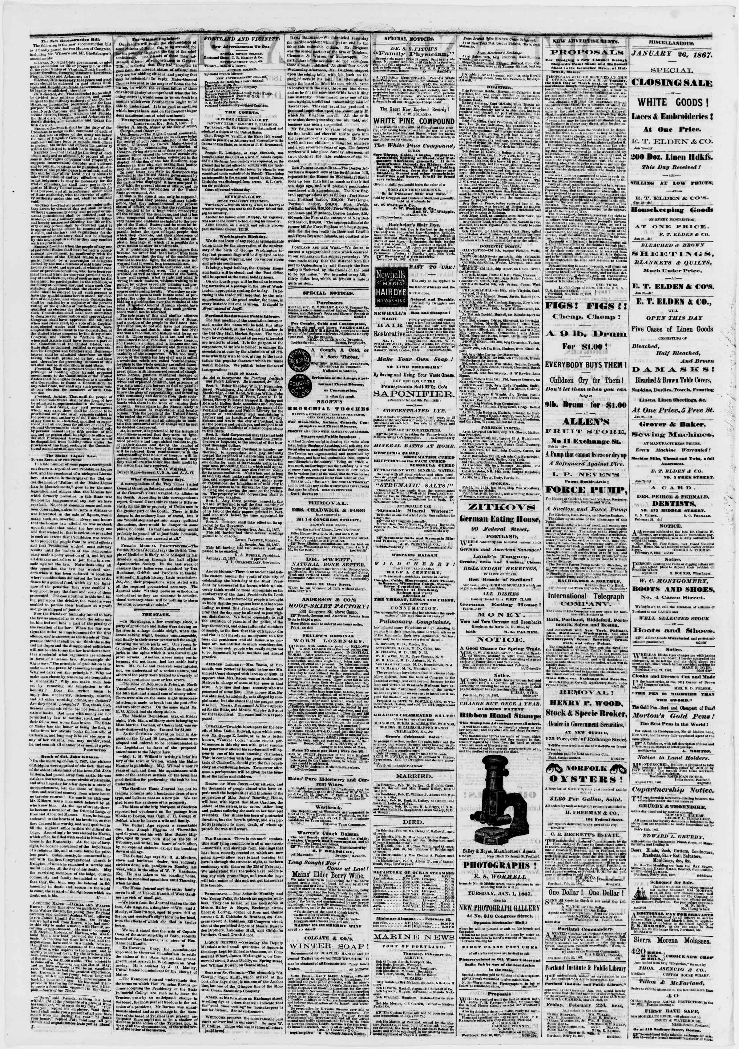 Newspaper of Portland Daily Press dated February 22, 1867 Page 2