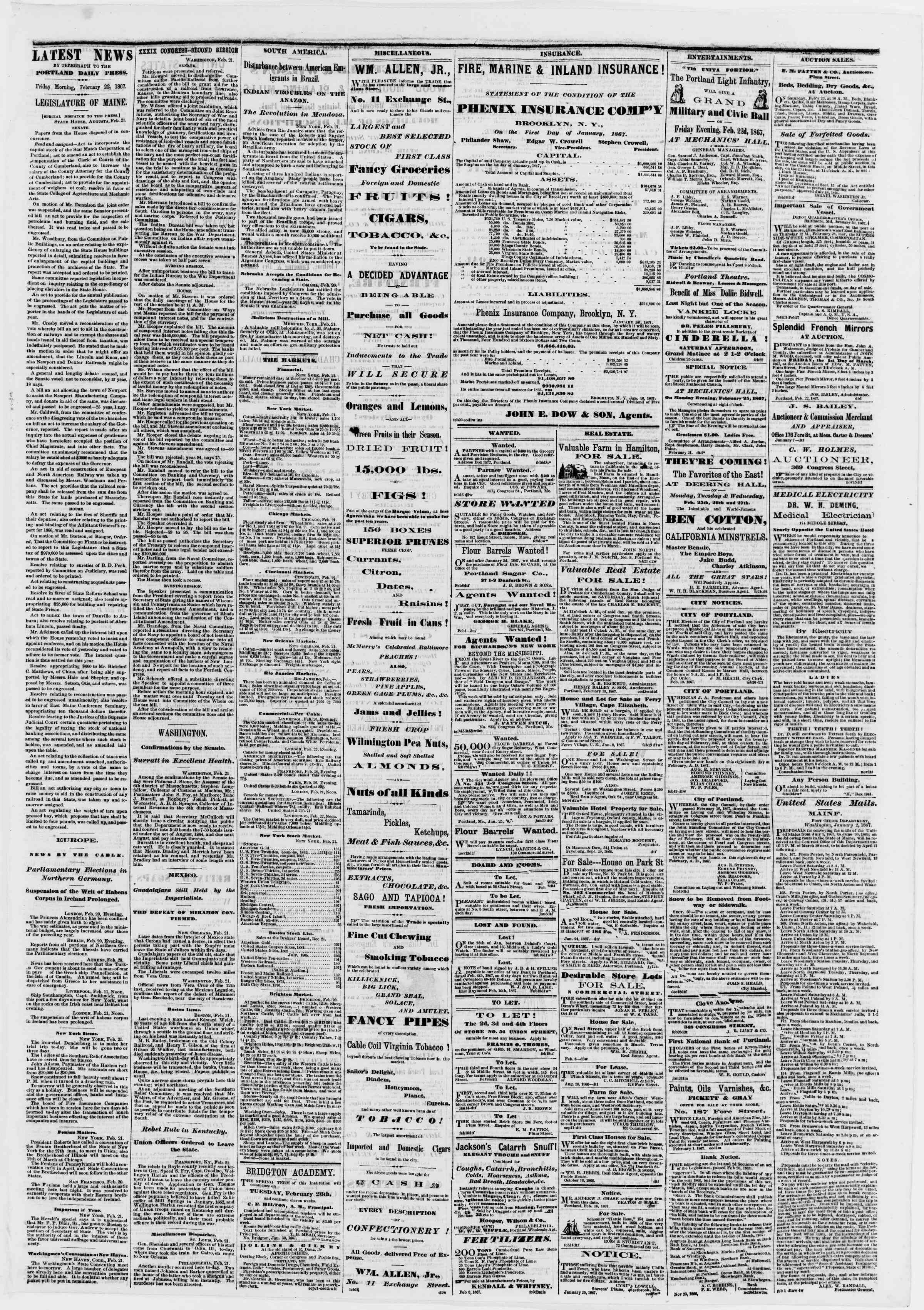 Newspaper of Portland Daily Press dated February 22, 1867 Page 3