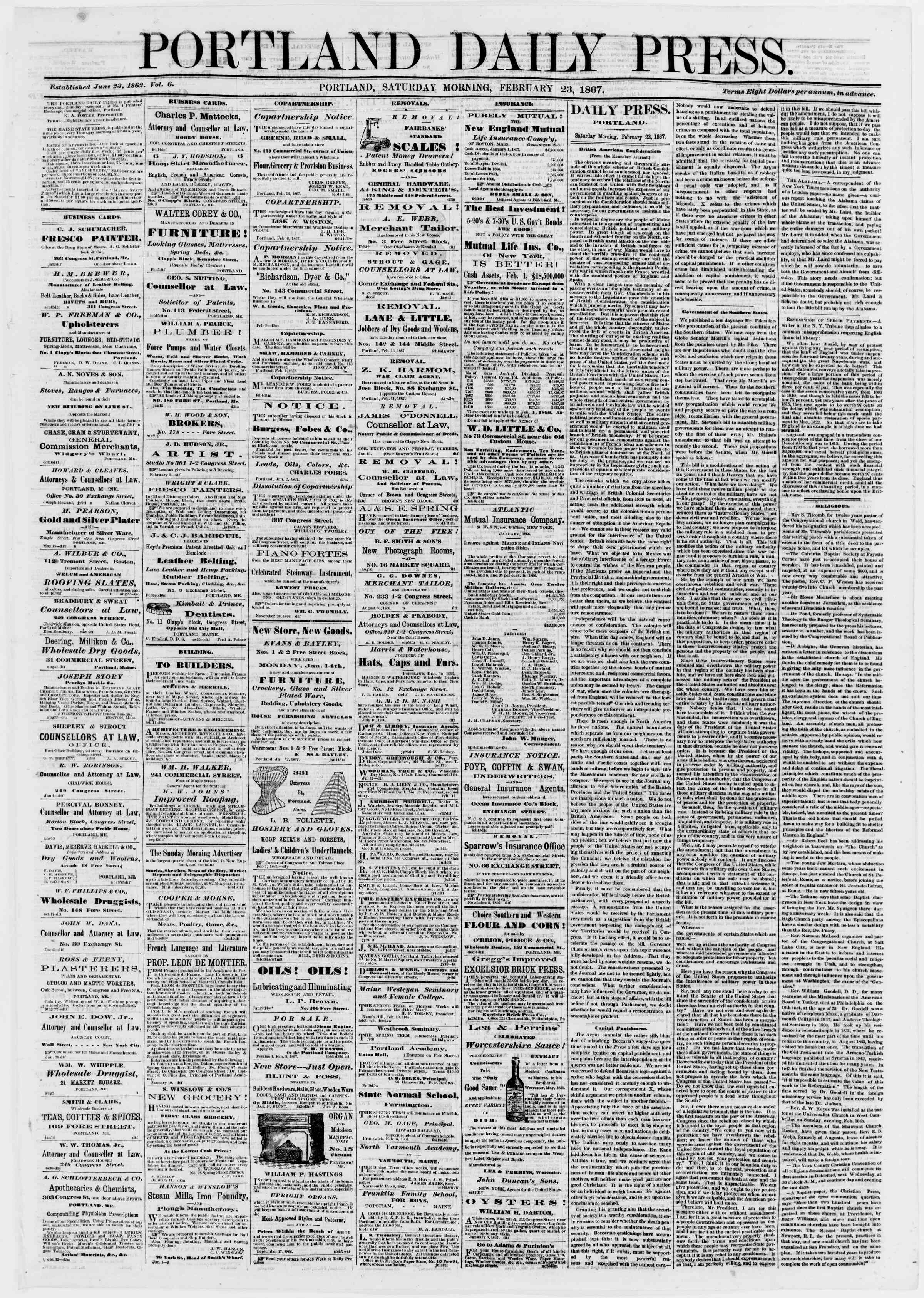 Newspaper of Portland Daily Press dated February 23, 1867 Page 1