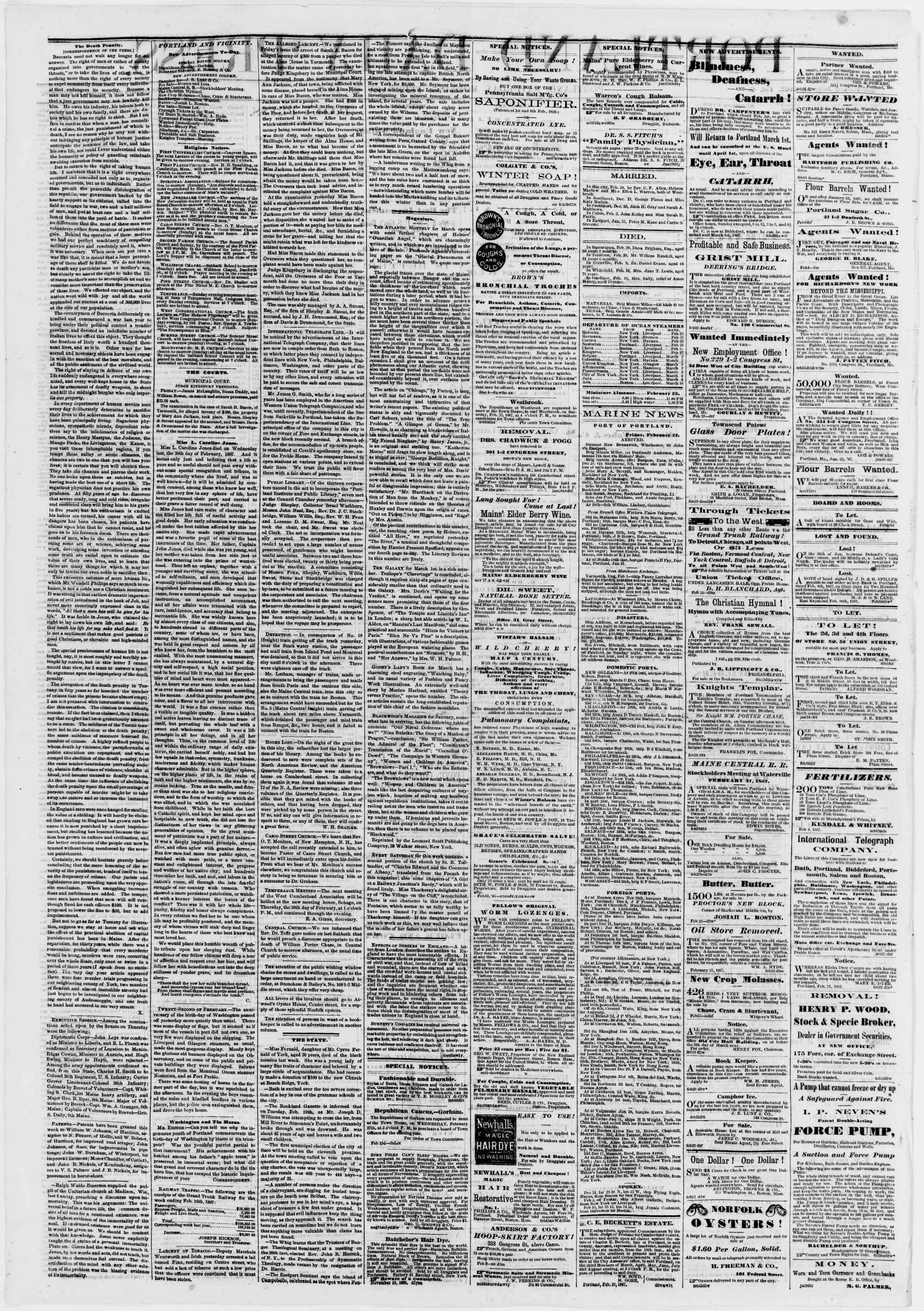 Newspaper of Portland Daily Press dated February 23, 1867 Page 2