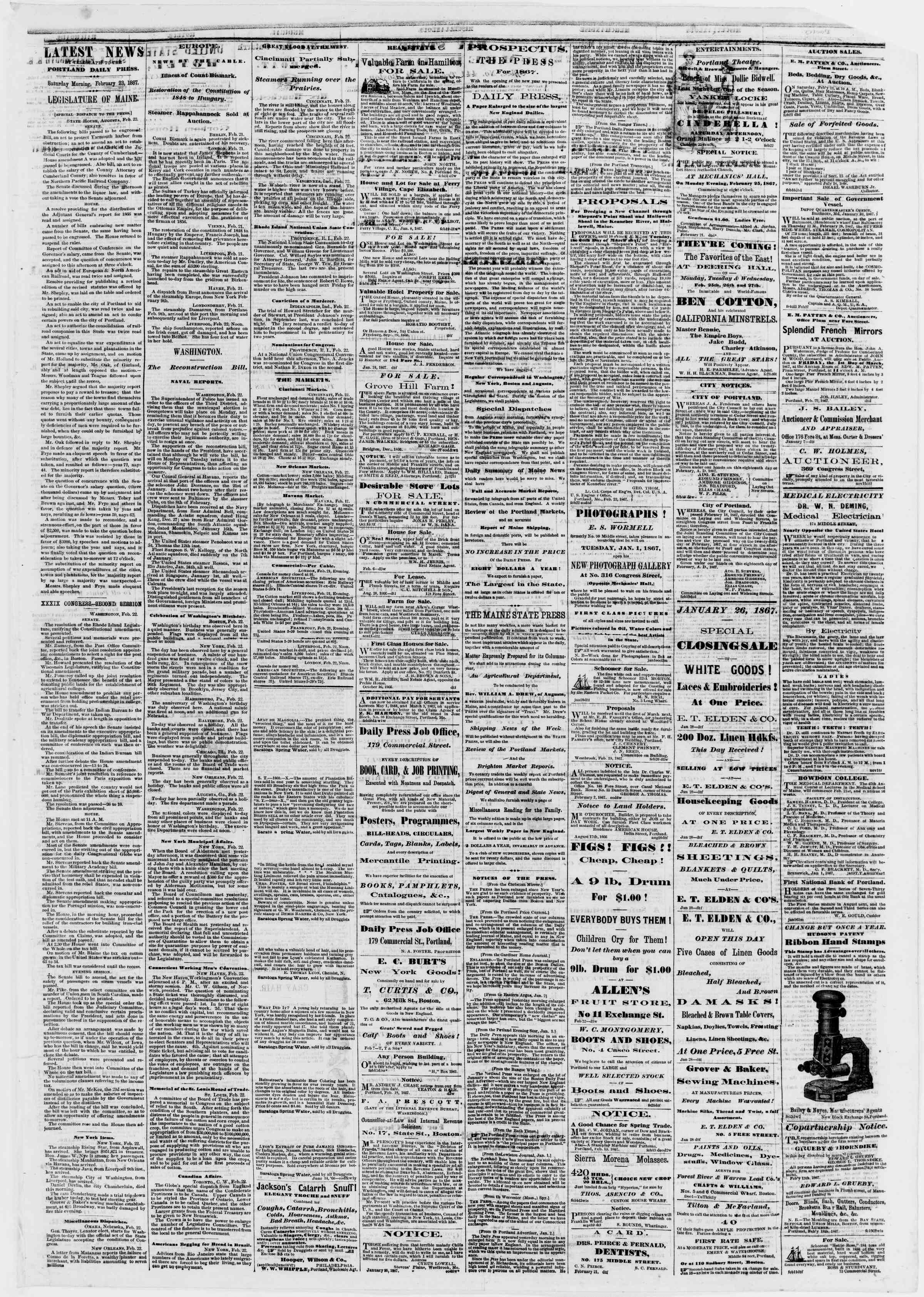Newspaper of Portland Daily Press dated February 23, 1867 Page 3