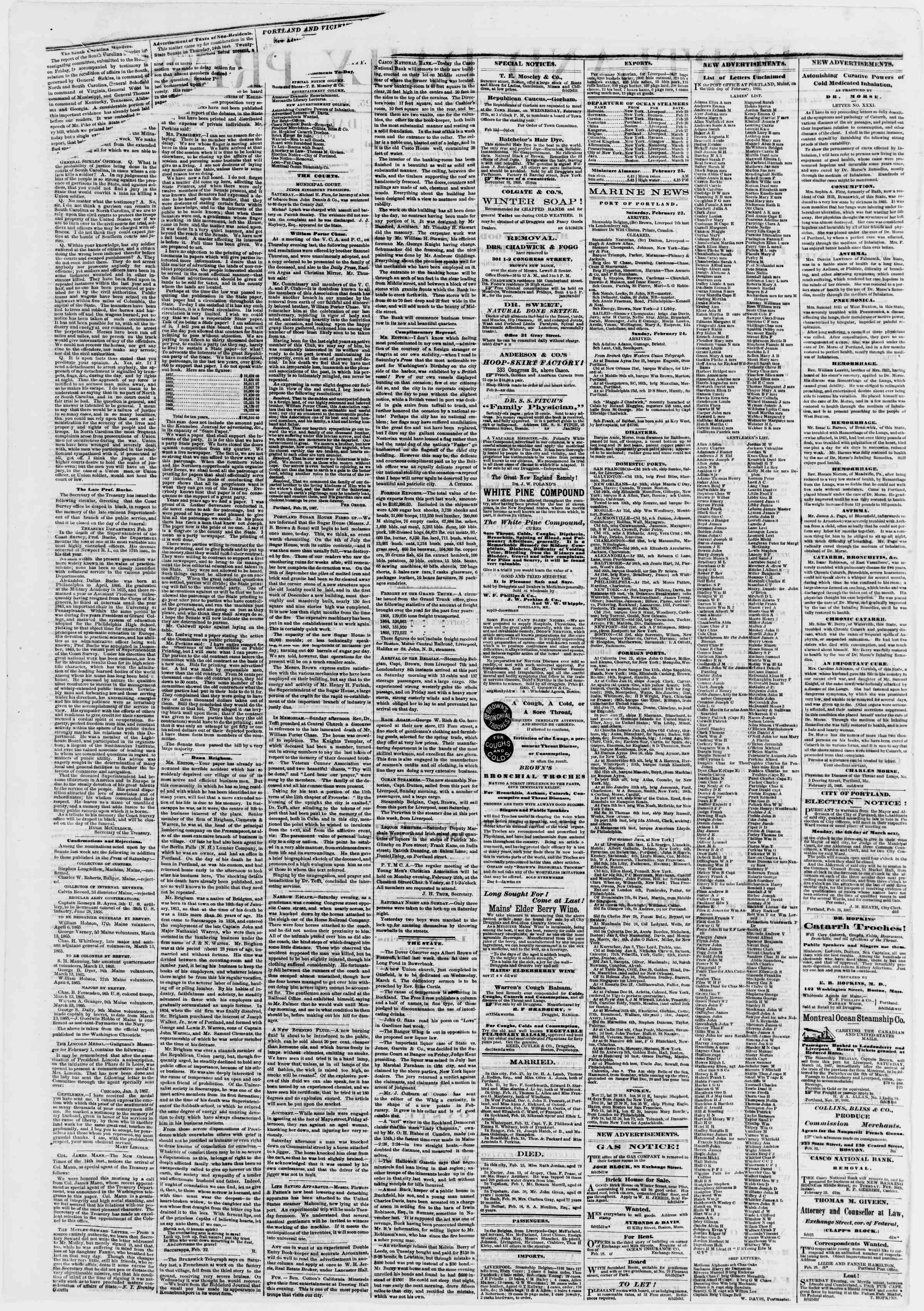 Newspaper of Portland Daily Press dated February 25, 1867 Page 2