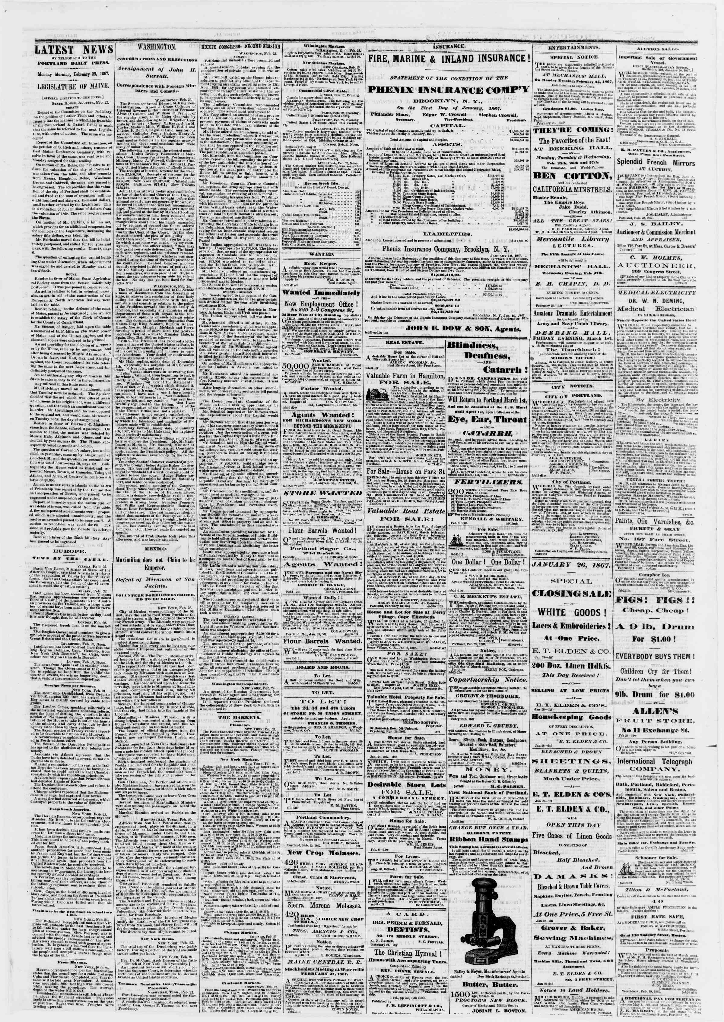 Newspaper of Portland Daily Press dated February 25, 1867 Page 3