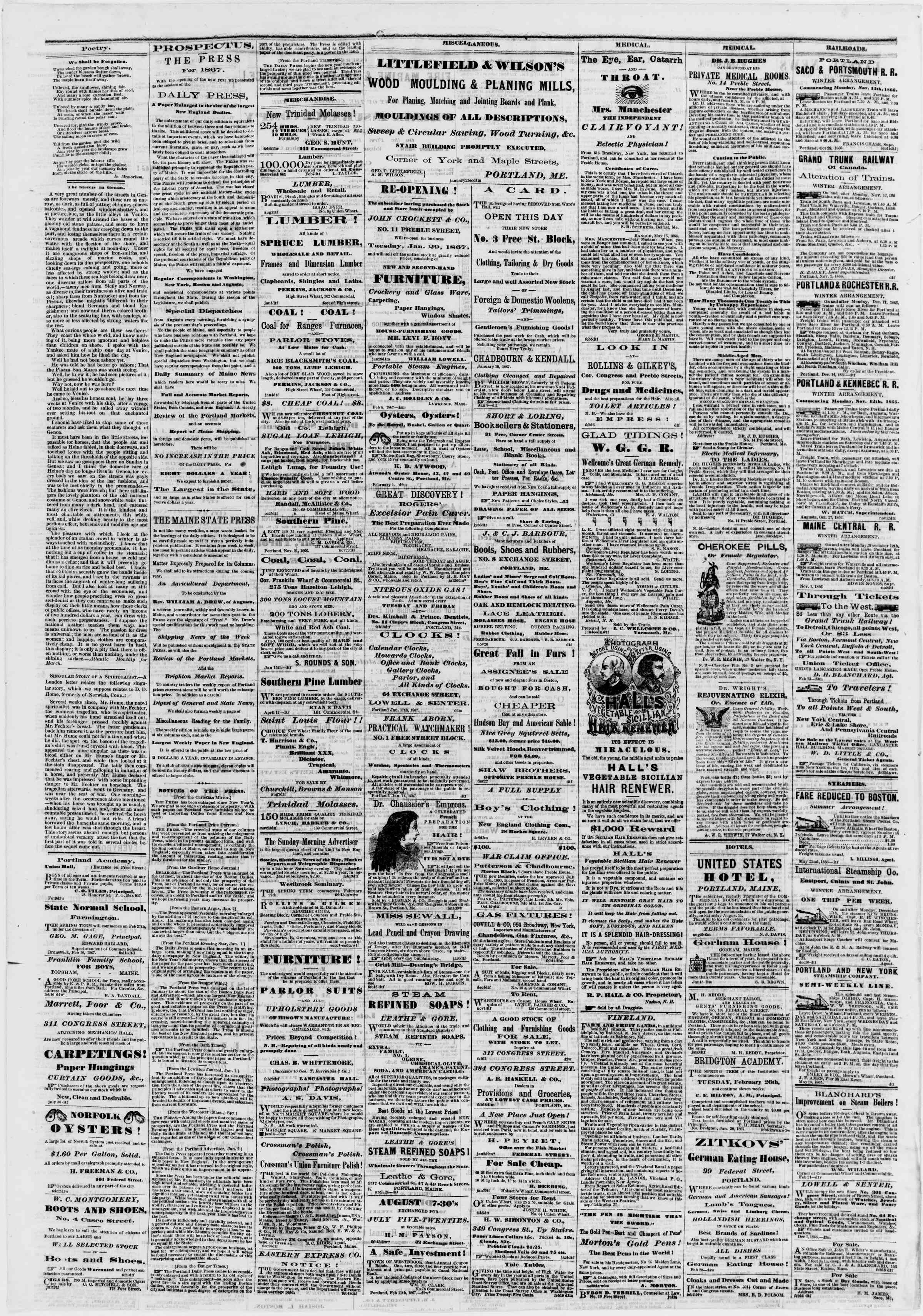 Newspaper of Portland Daily Press dated February 25, 1867 Page 4