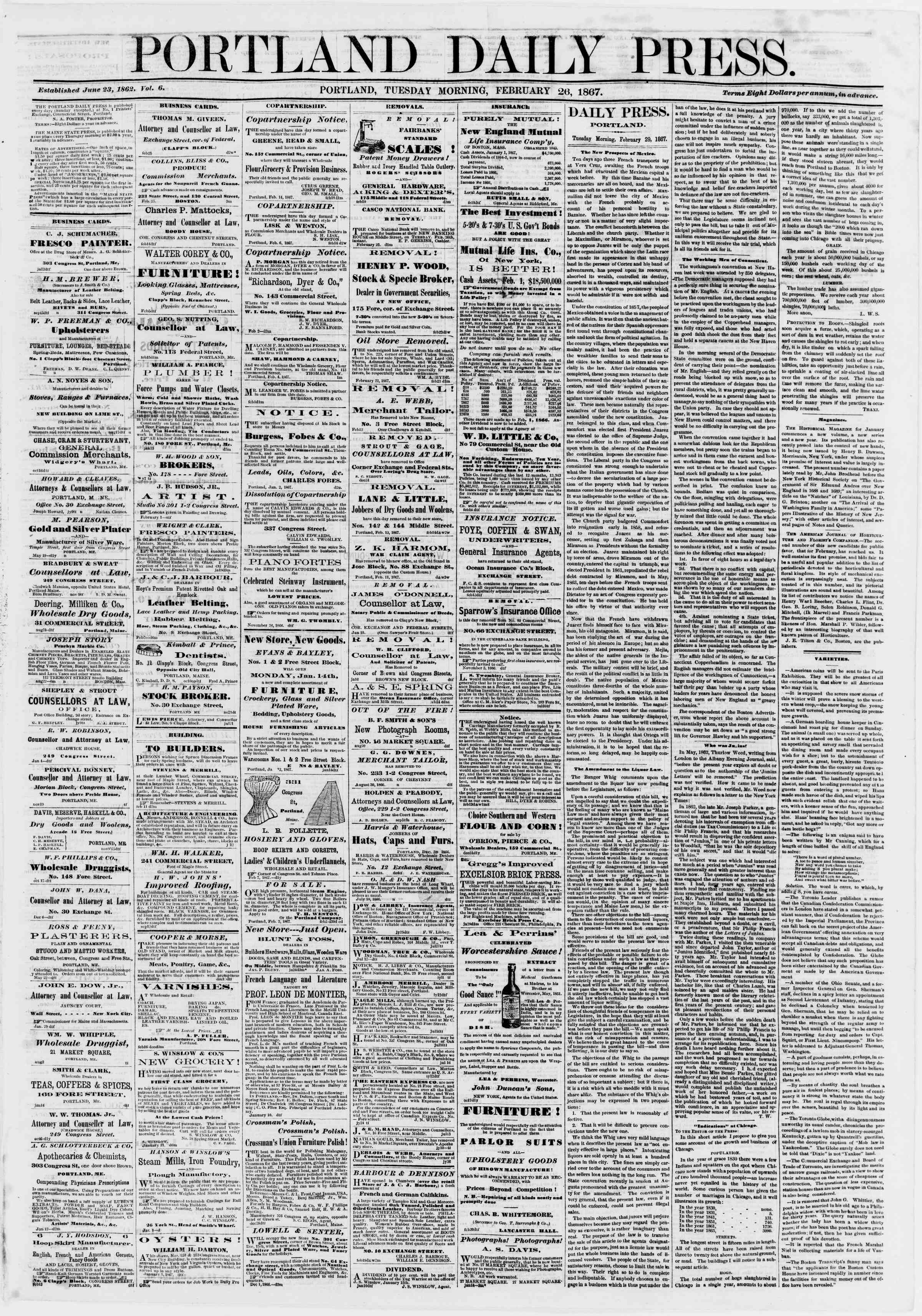 Newspaper of Portland Daily Press dated February 26, 1867 Page 1