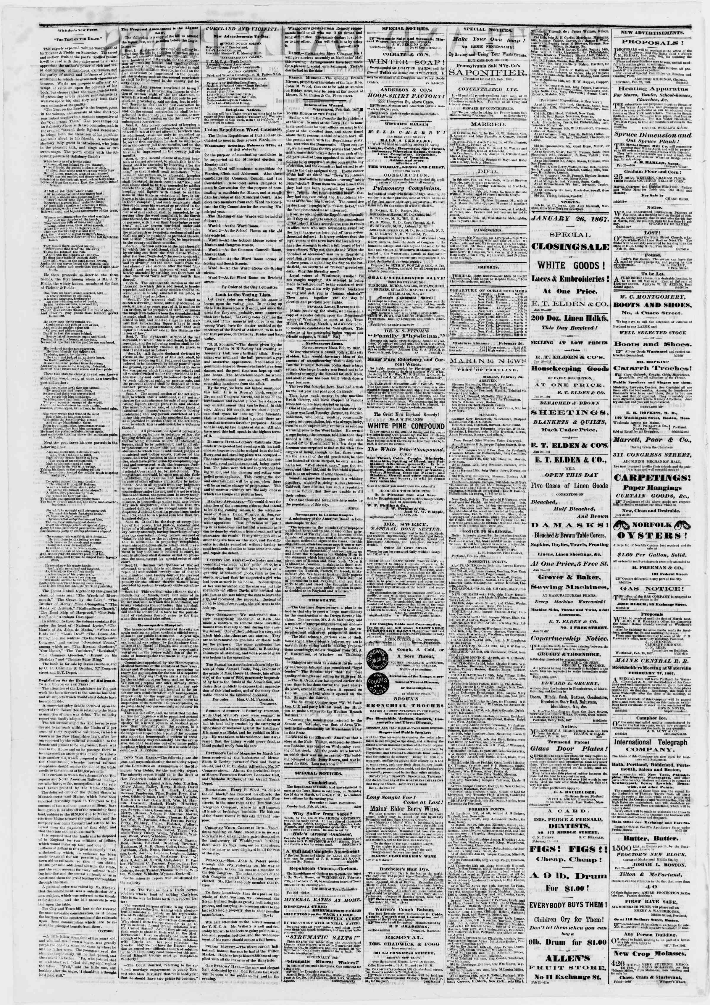 Newspaper of Portland Daily Press dated February 26, 1867 Page 2
