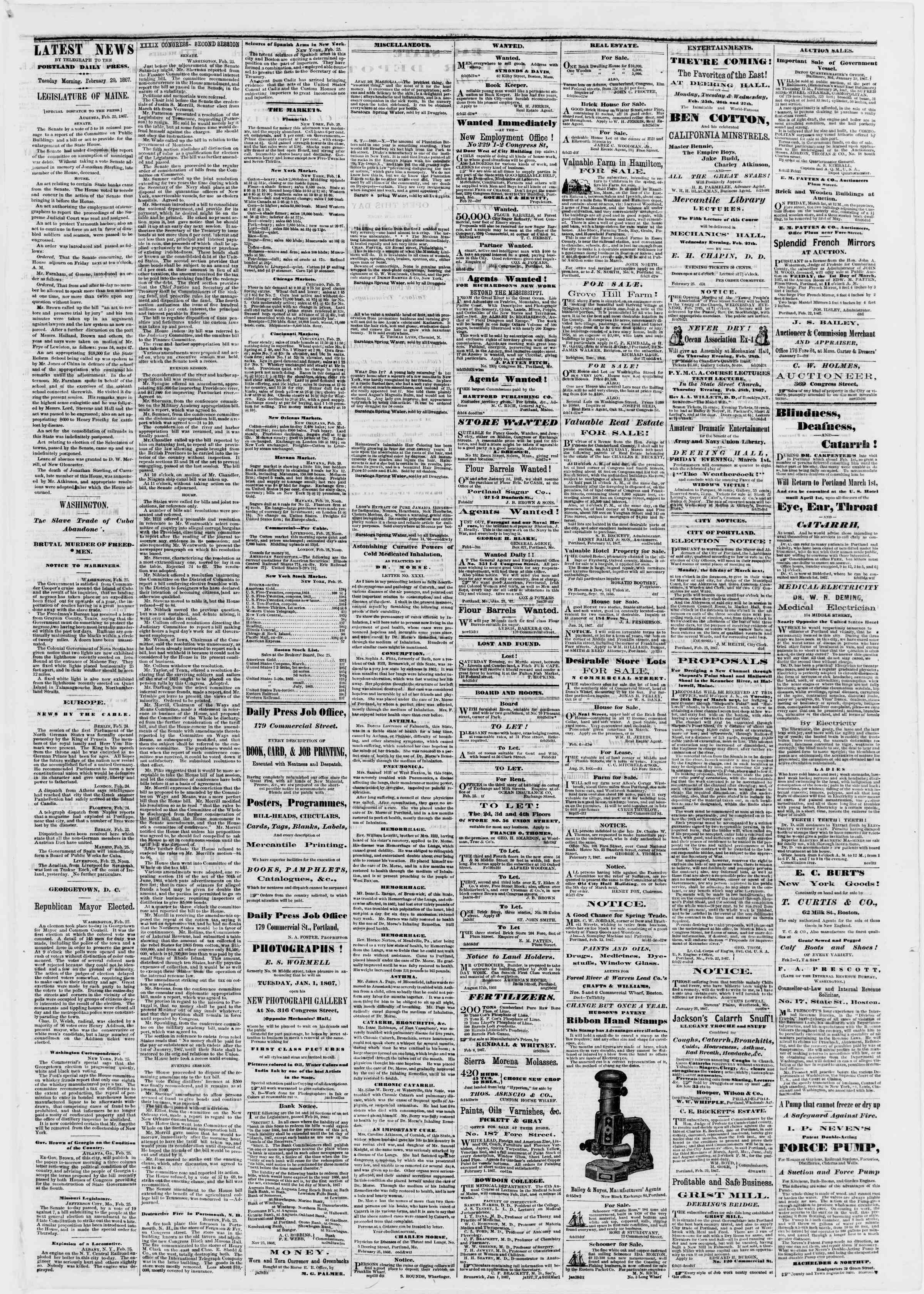 Newspaper of Portland Daily Press dated February 26, 1867 Page 3