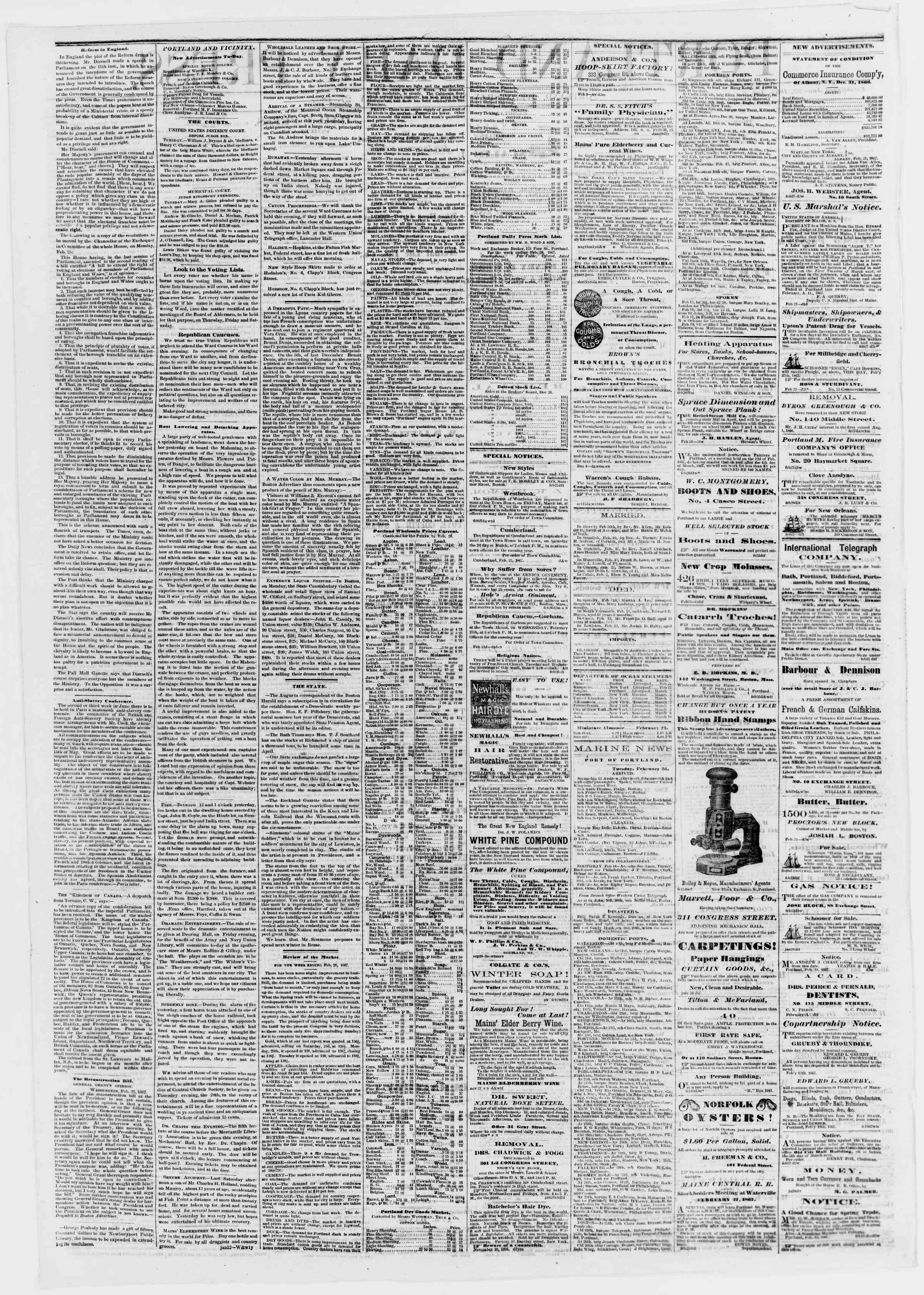 Newspaper of Portland Daily Press dated February 27, 1867 Page 2