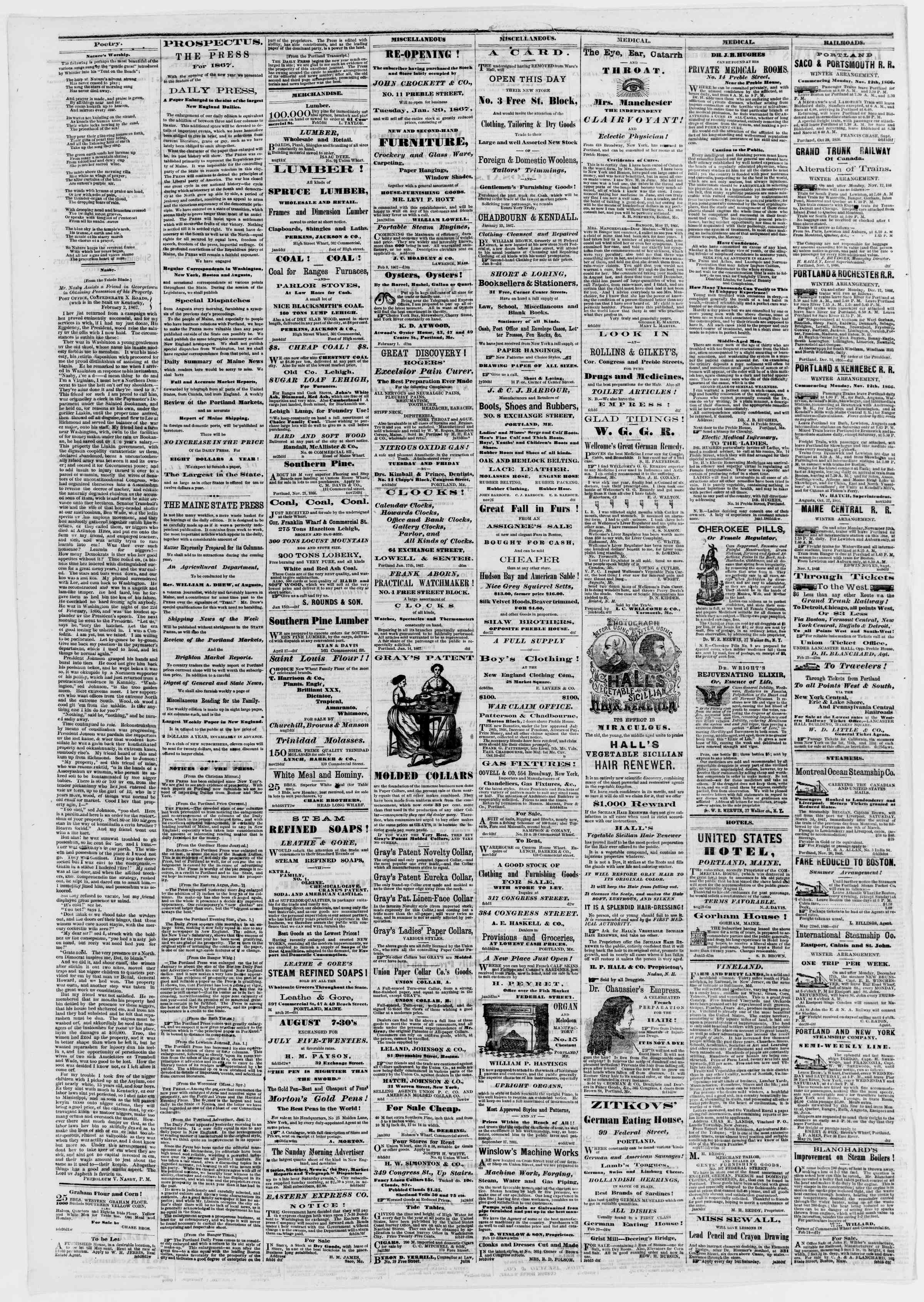 Newspaper of Portland Daily Press dated February 27, 1867 Page 4
