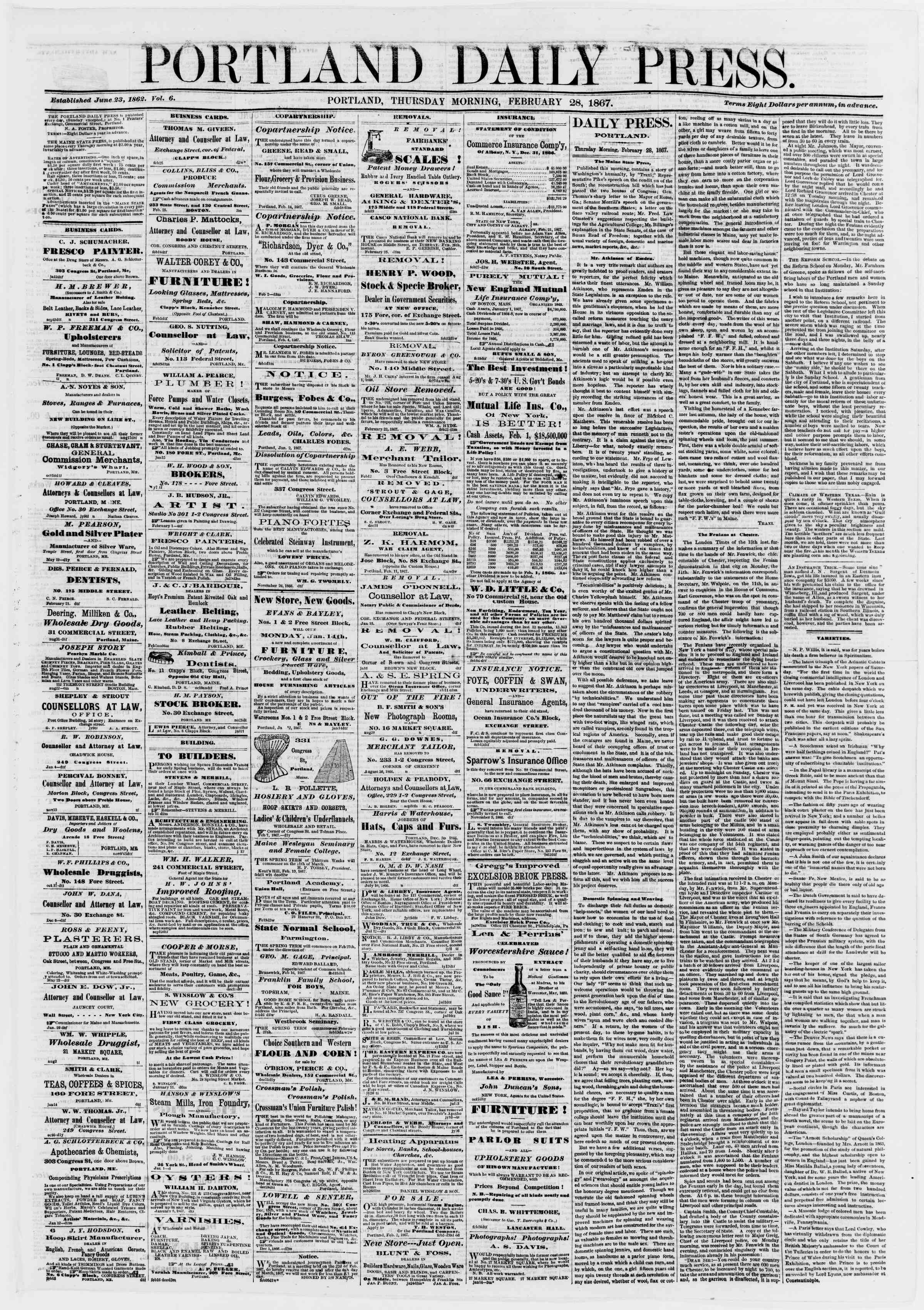 Newspaper of Portland Daily Press dated February 28, 1867 Page 1