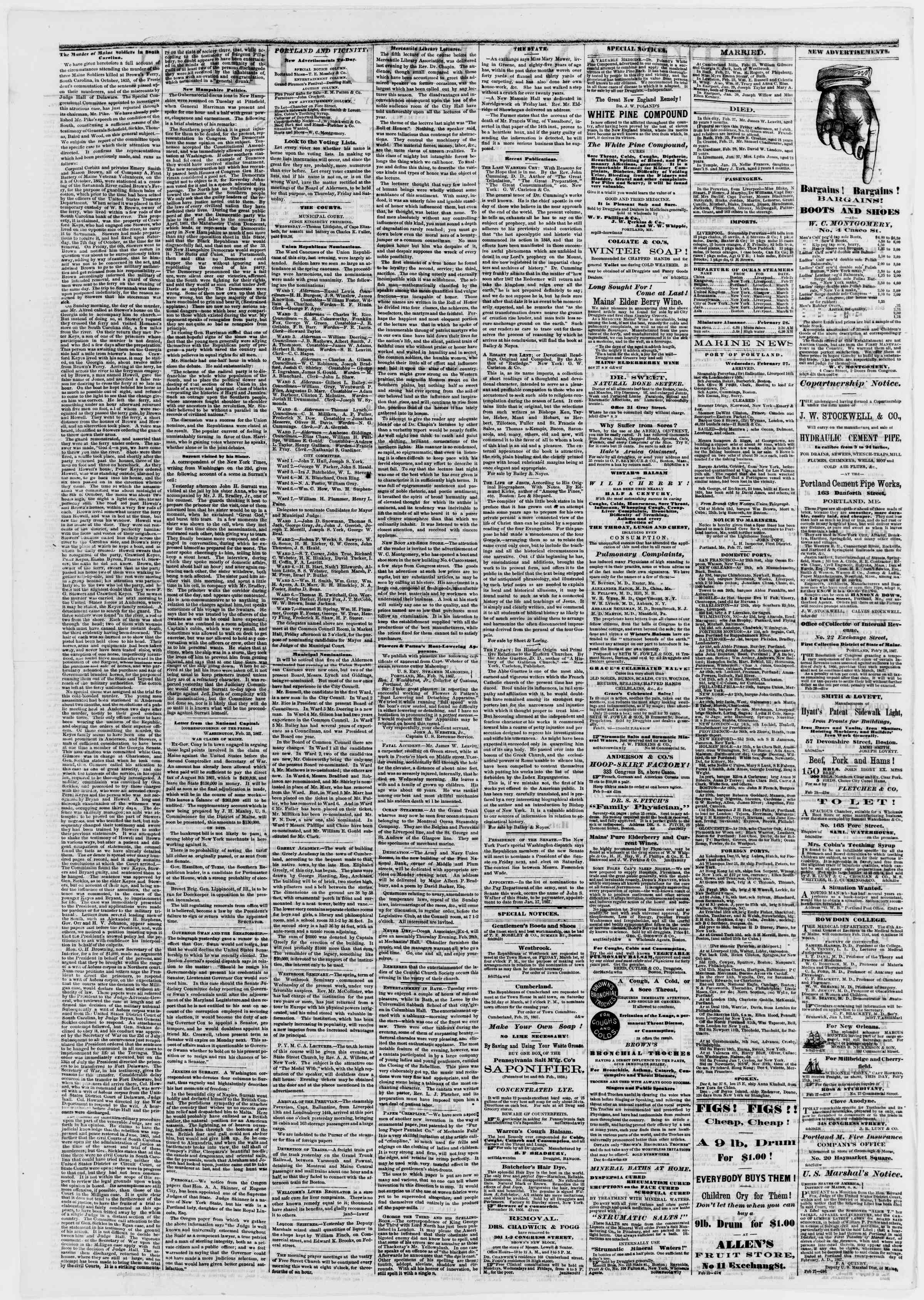 Newspaper of Portland Daily Press dated February 28, 1867 Page 2