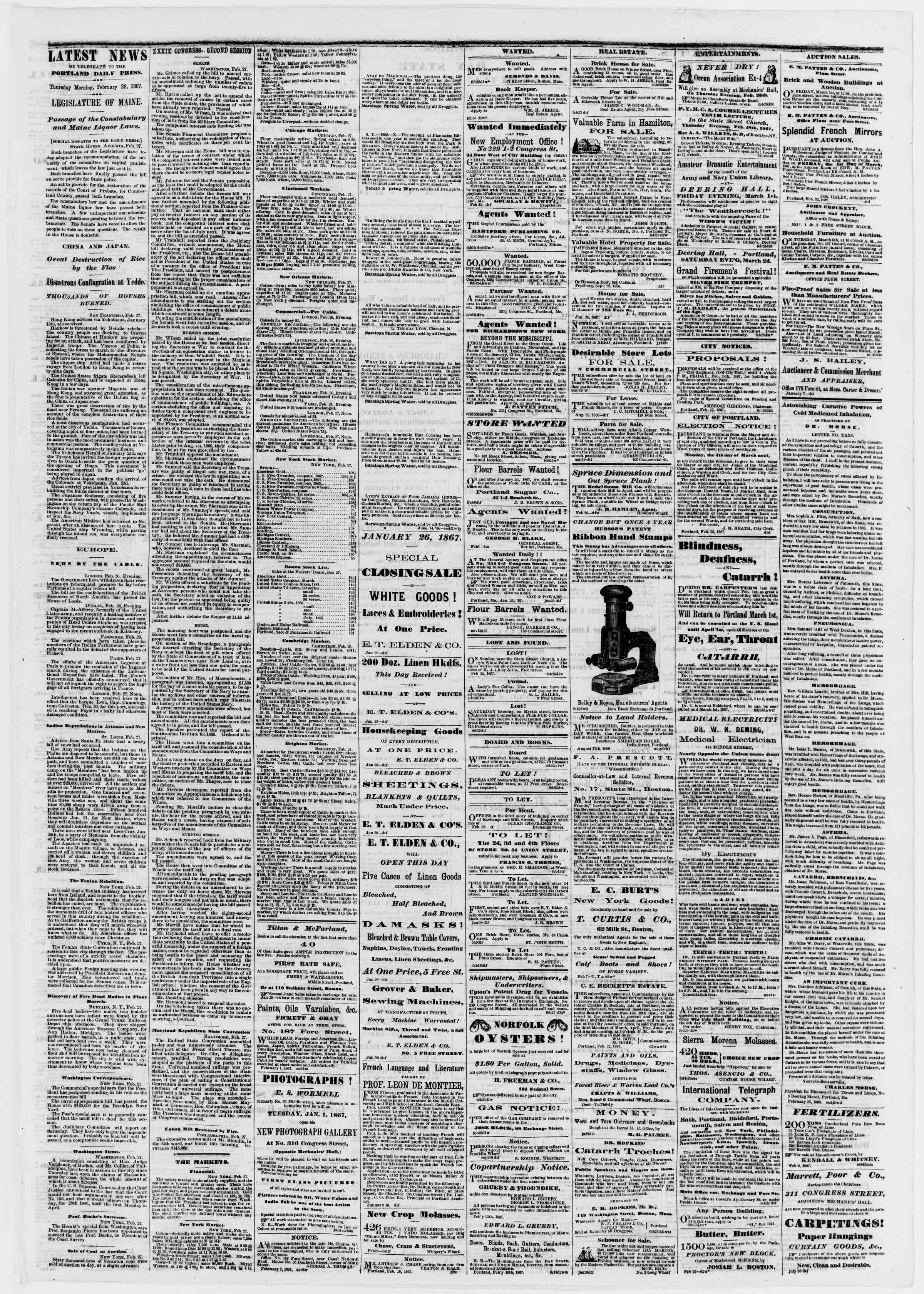 Newspaper of Portland Daily Press dated February 28, 1867 Page 3