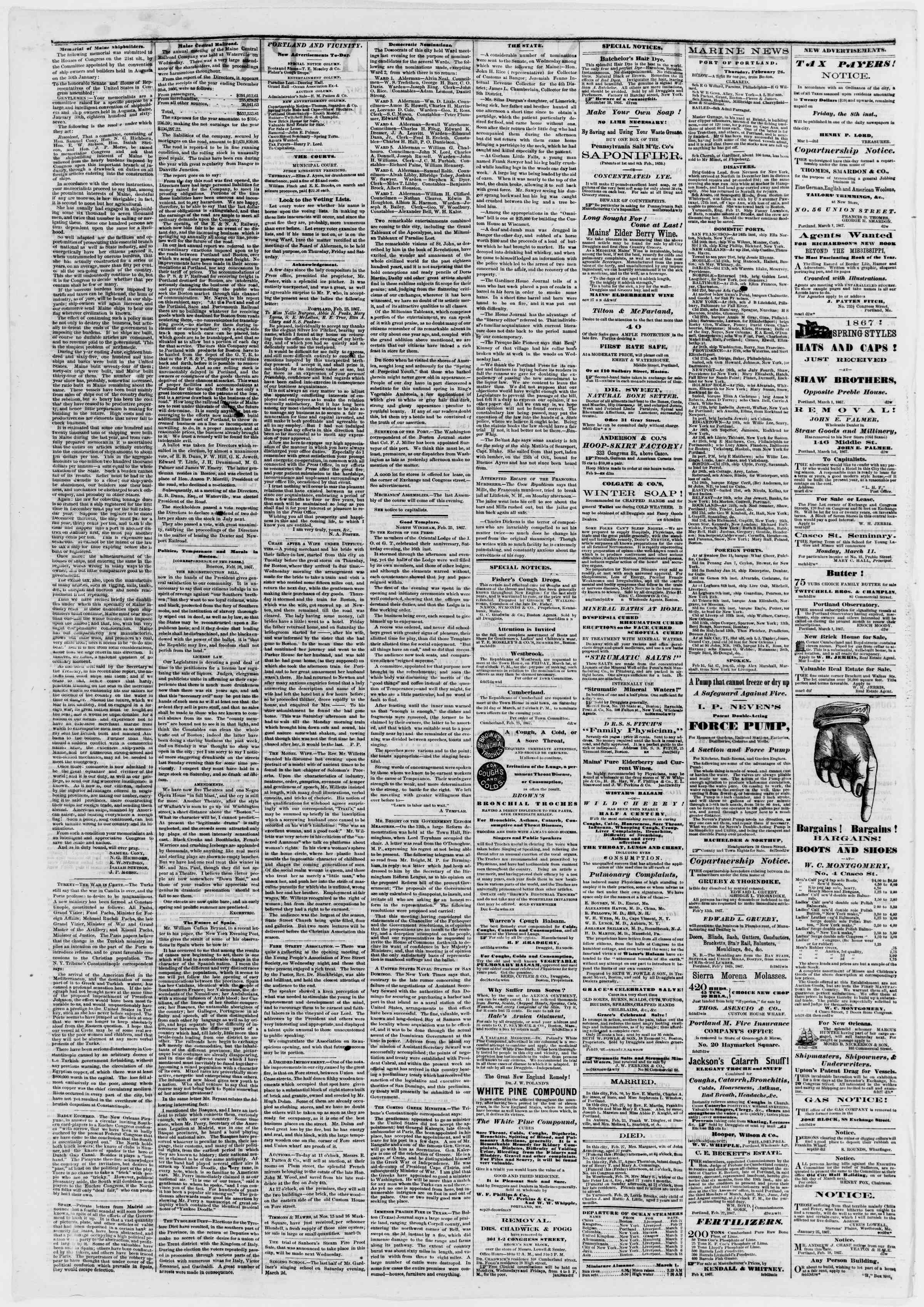 Newspaper of Portland Daily Press dated March 1, 1867 Page 2