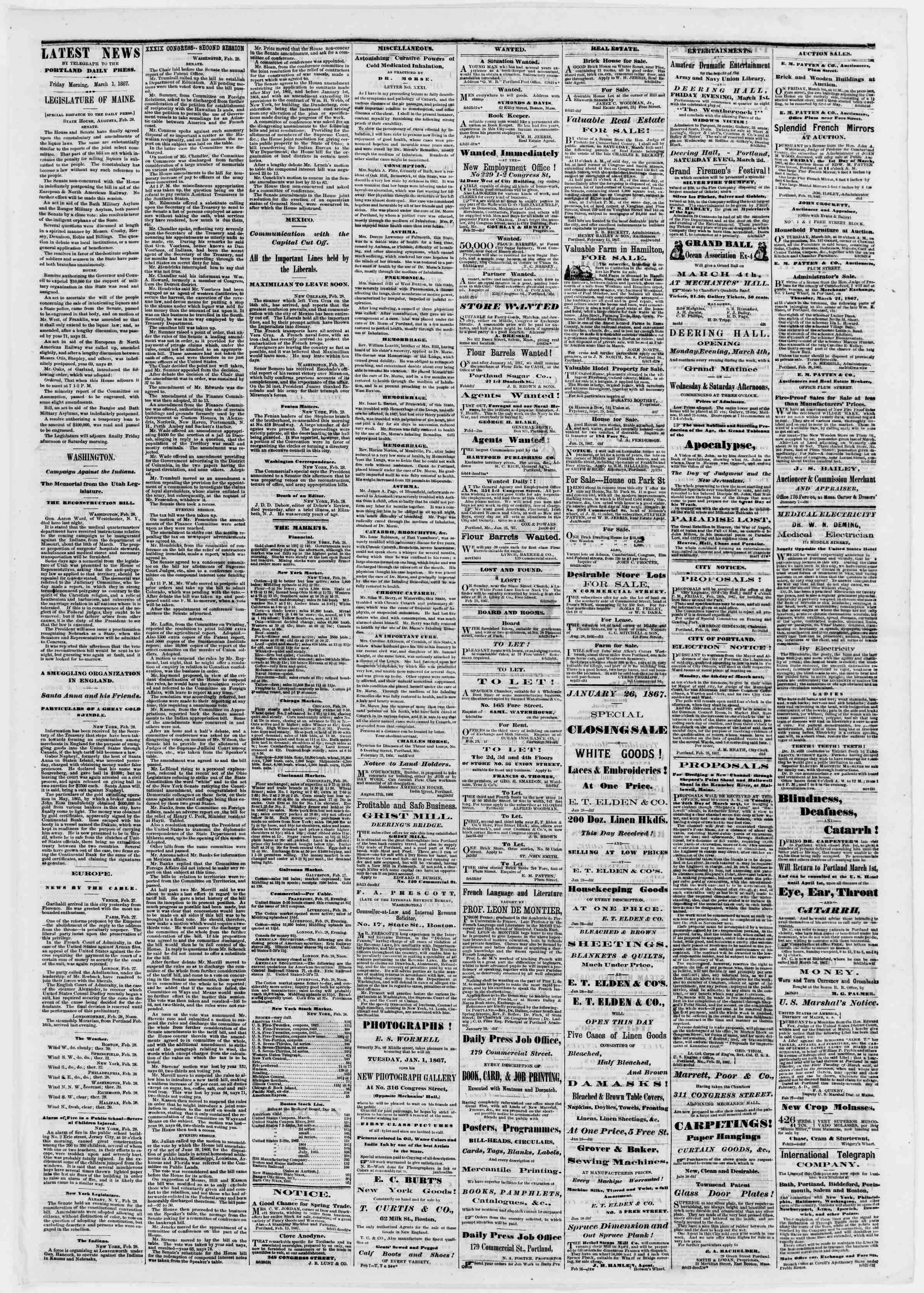 Newspaper of Portland Daily Press dated March 1, 1867 Page 3