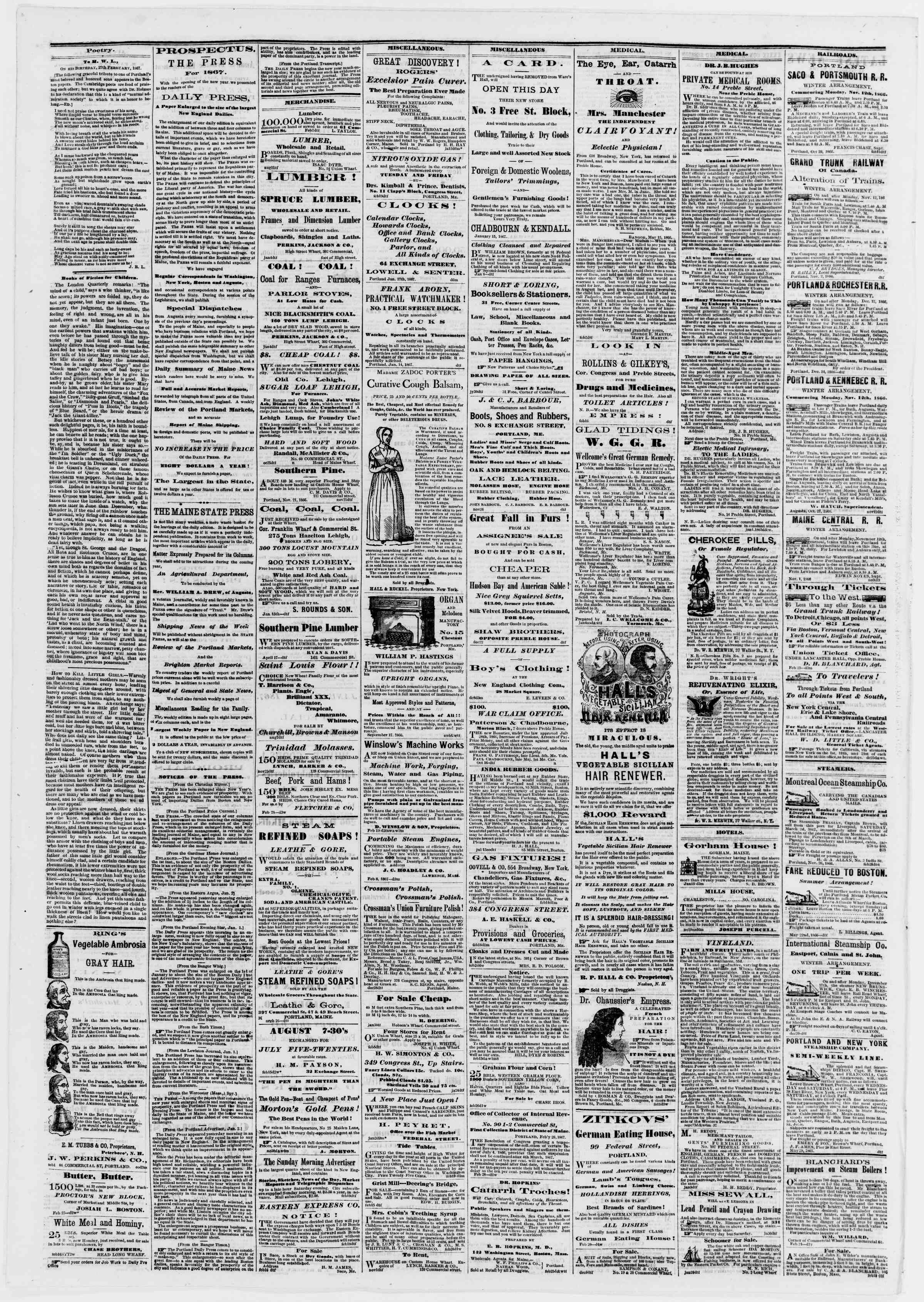 Newspaper of Portland Daily Press dated March 1, 1867 Page 4