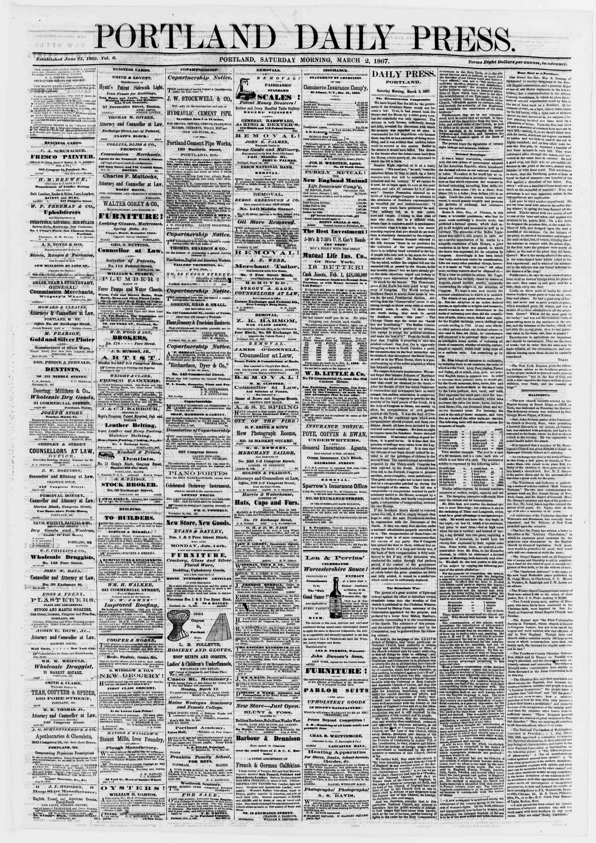 Newspaper of Portland Daily Press dated March 2, 1867 Page 1