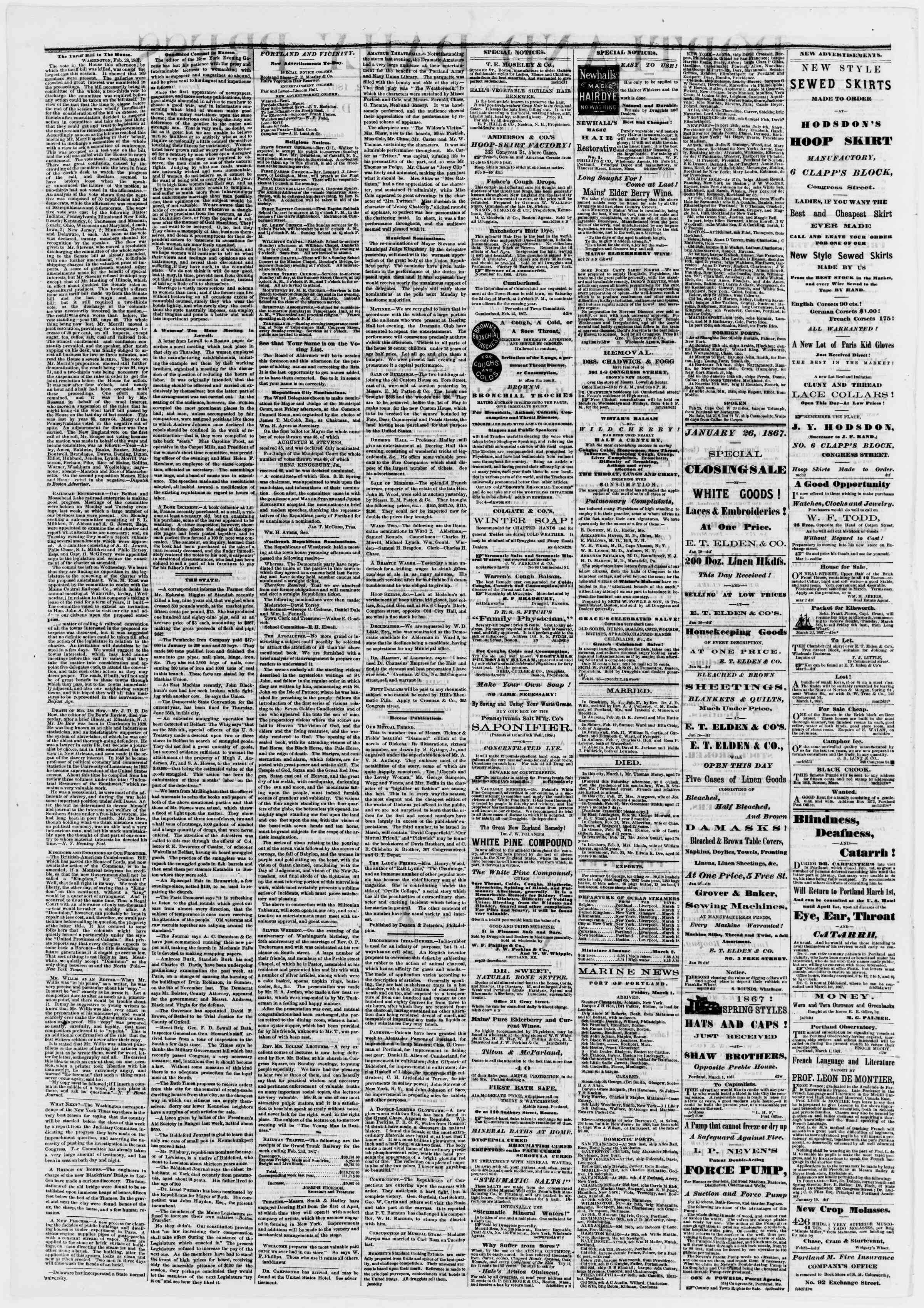 Newspaper of Portland Daily Press dated March 2, 1867 Page 2