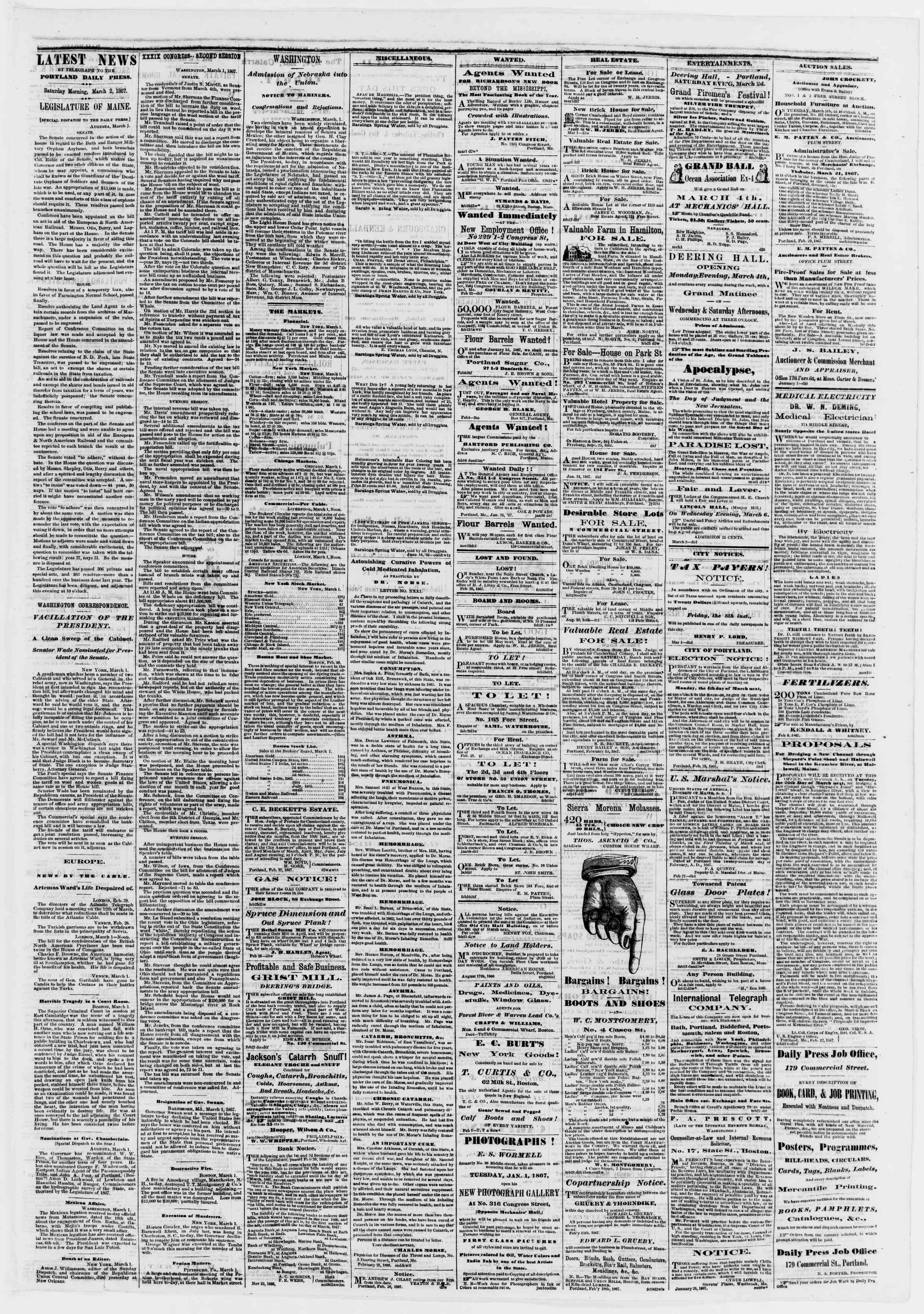 Newspaper of Portland Daily Press dated March 2, 1867 Page 3
