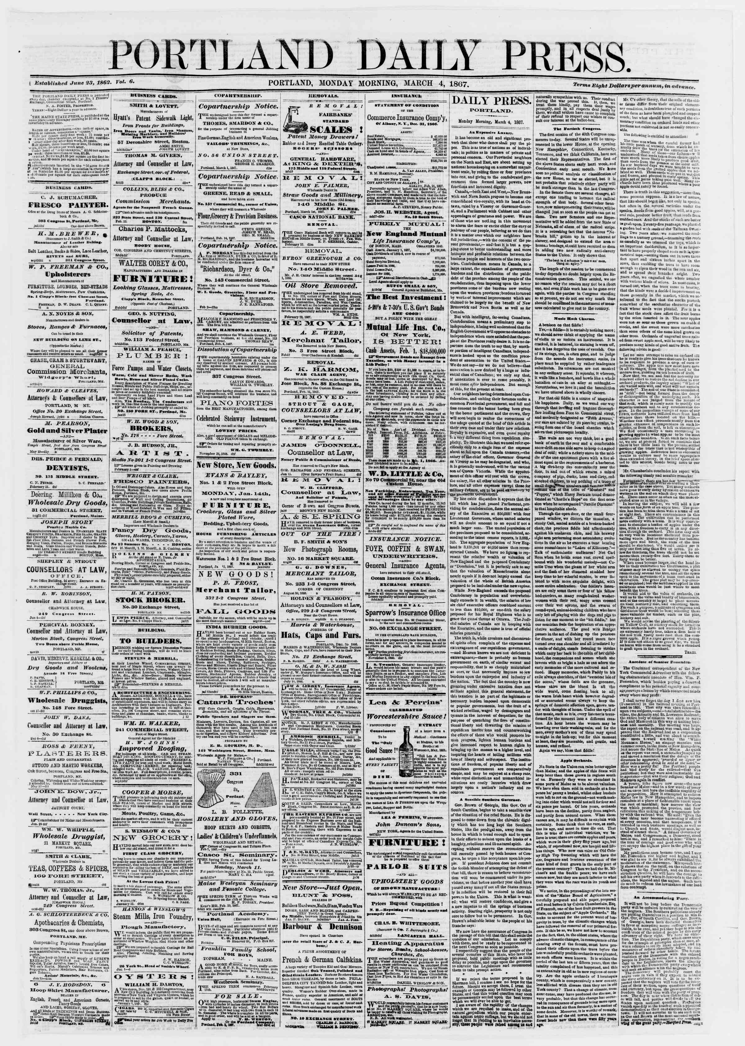 Newspaper of Portland Daily Press dated March 4, 1867 Page 1