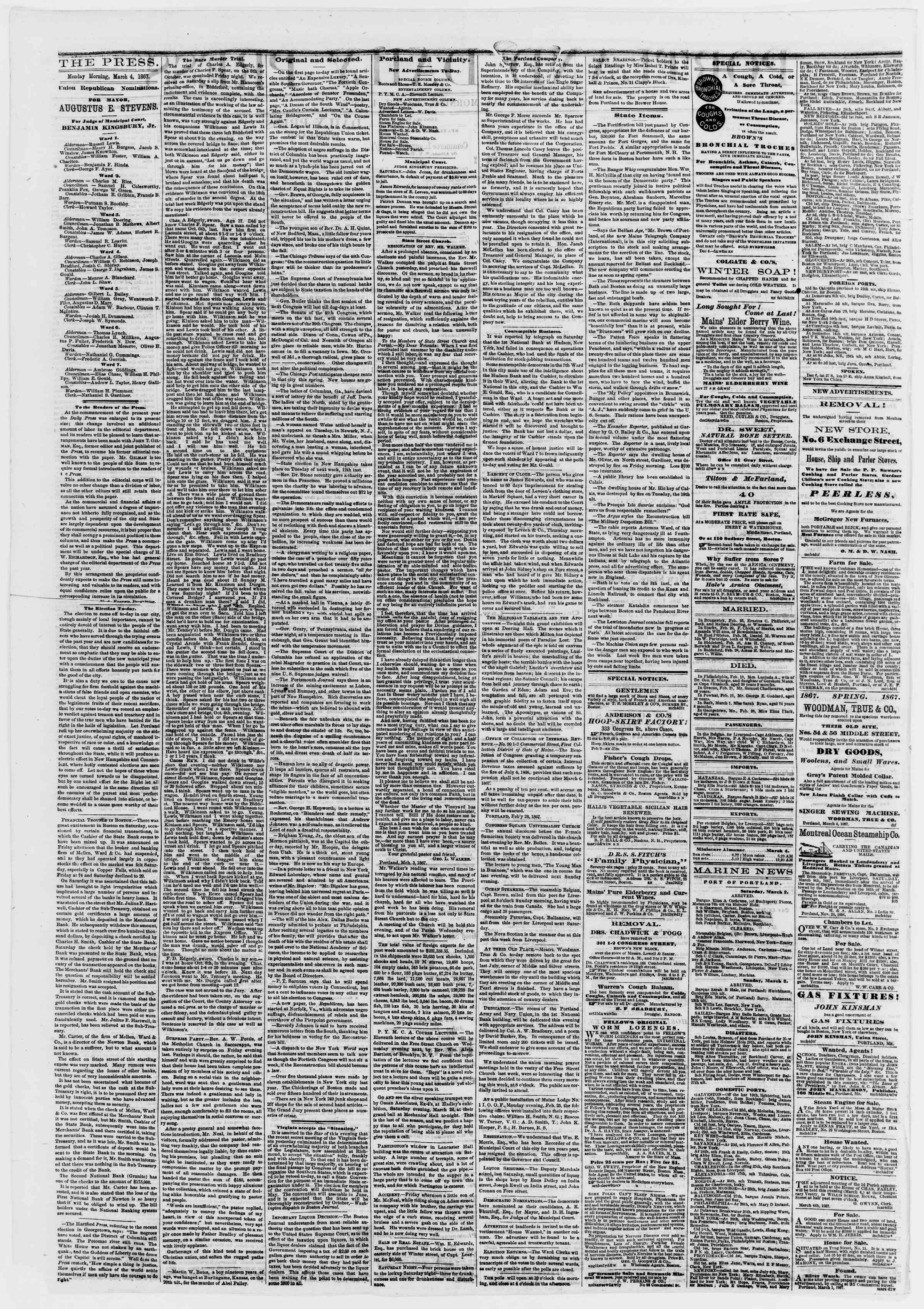 Newspaper of Portland Daily Press dated March 4, 1867 Page 2