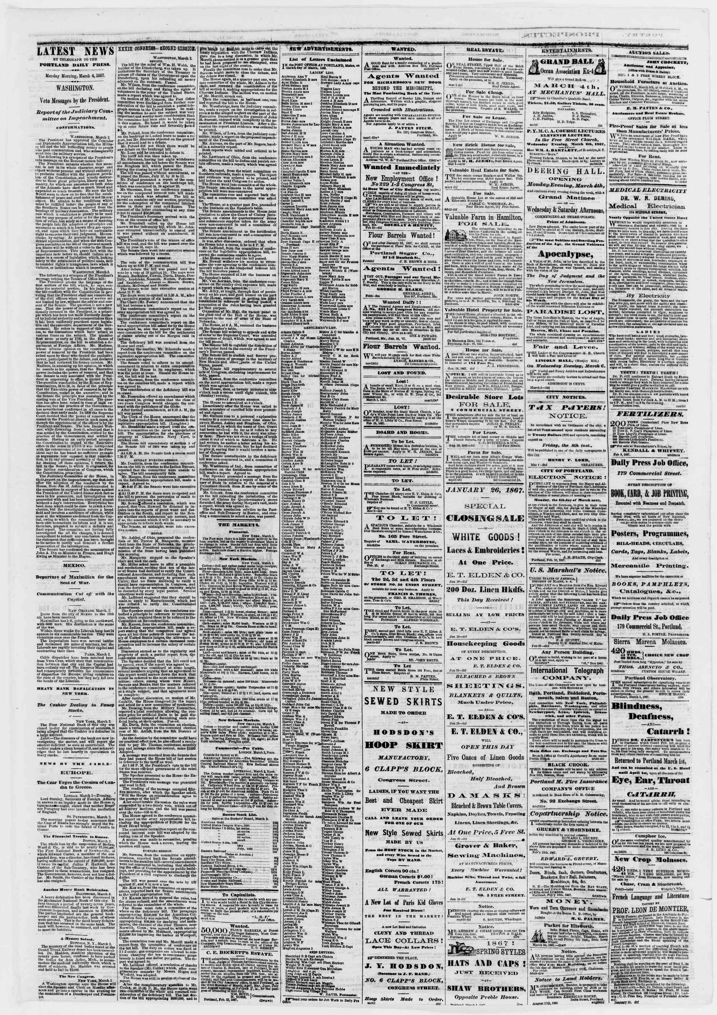 Newspaper of Portland Daily Press dated March 4, 1867 Page 3