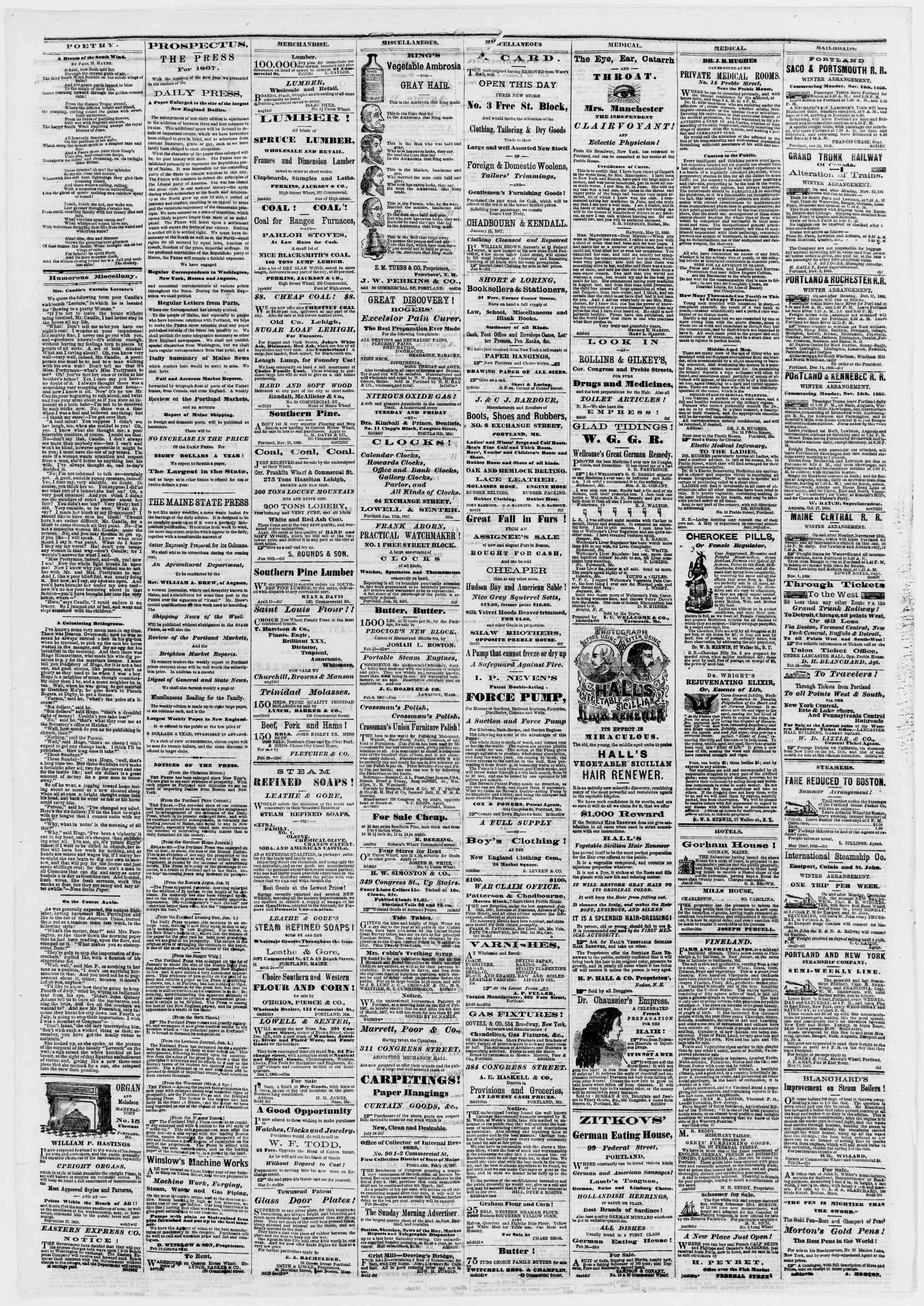 Newspaper of Portland Daily Press dated March 4, 1867 Page 4