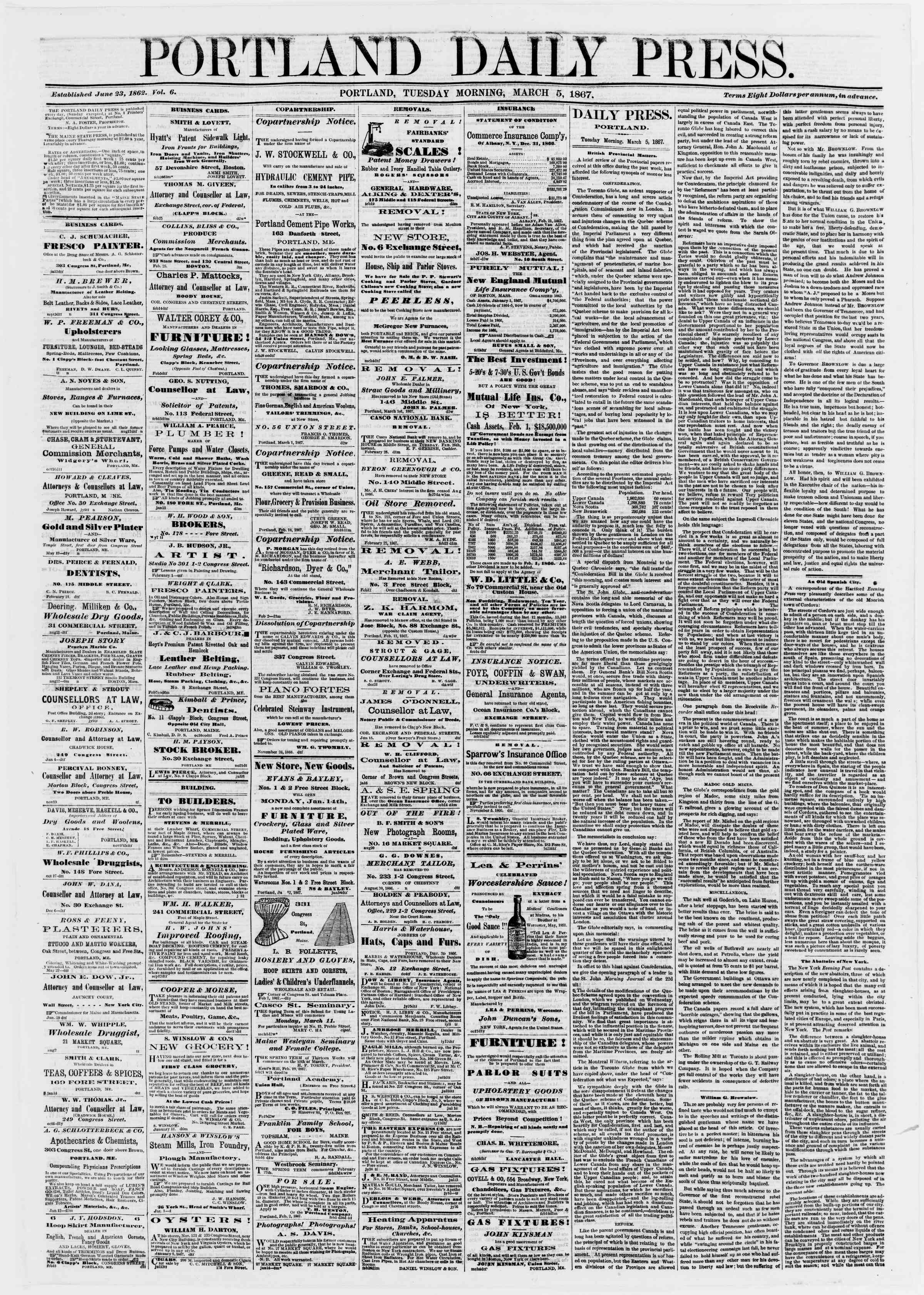 Newspaper of Portland Daily Press dated March 5, 1867 Page 1