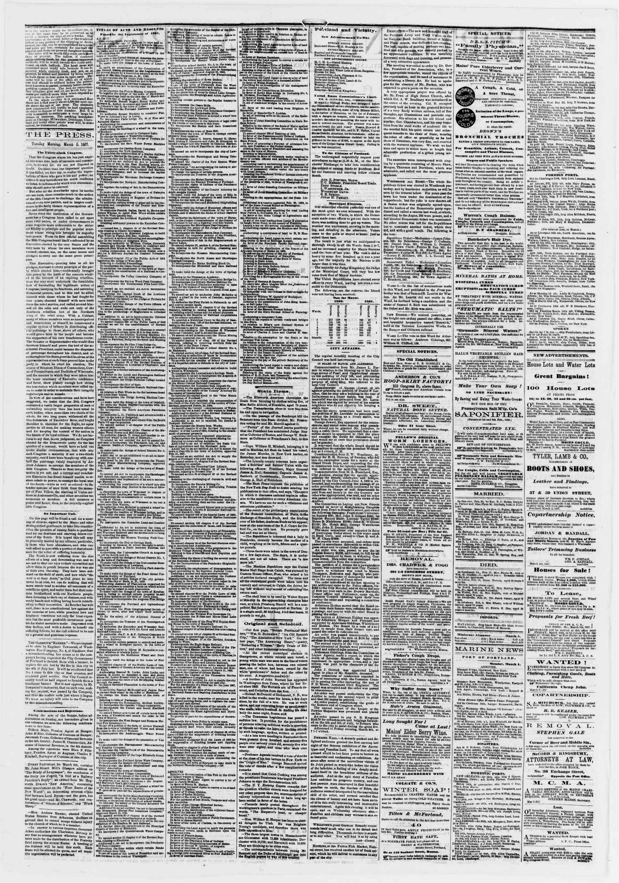 Newspaper of Portland Daily Press dated March 5, 1867 Page 2