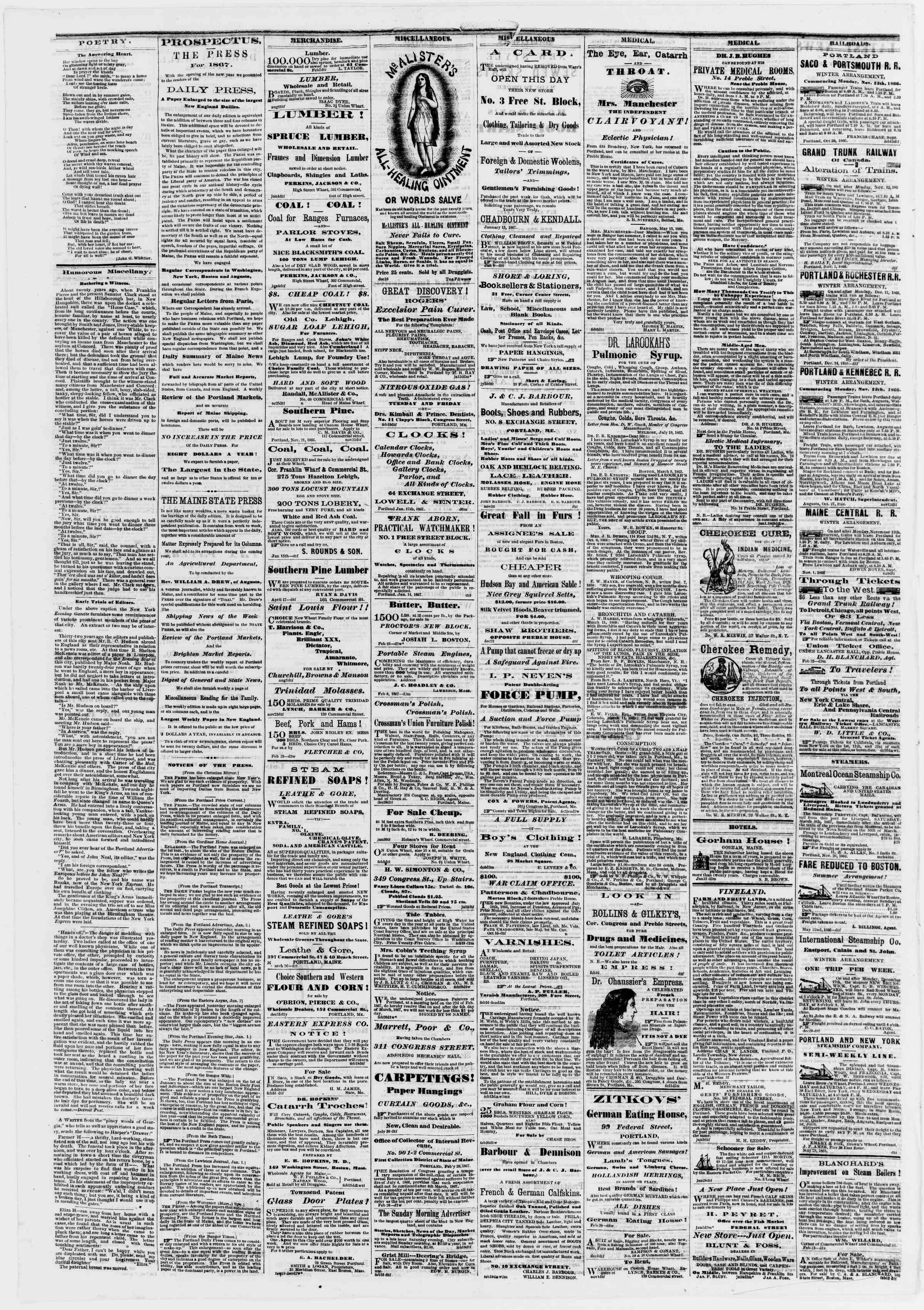 Newspaper of Portland Daily Press dated March 5, 1867 Page 4