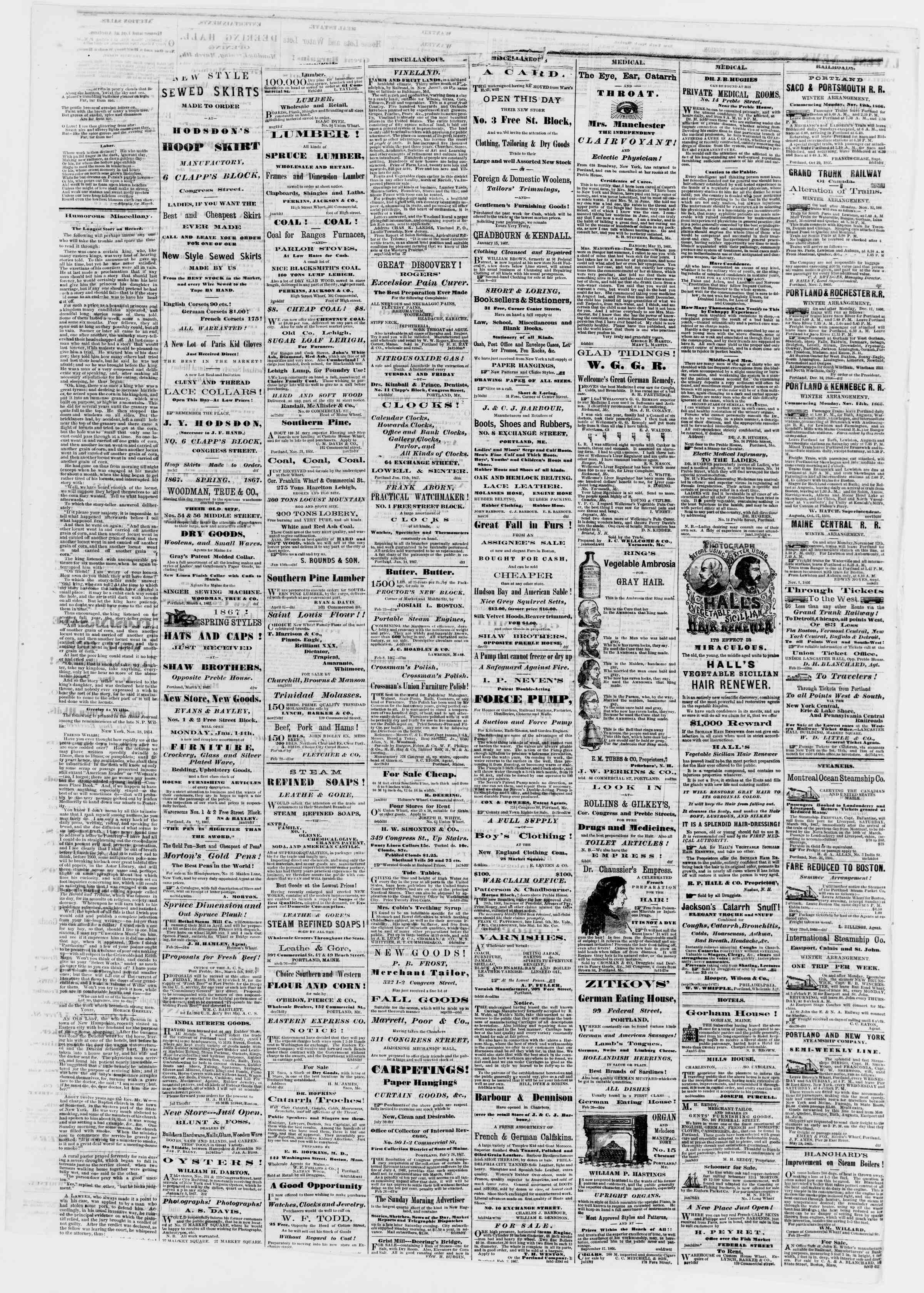 Newspaper of Portland Daily Press dated March 6, 1867 Page 4