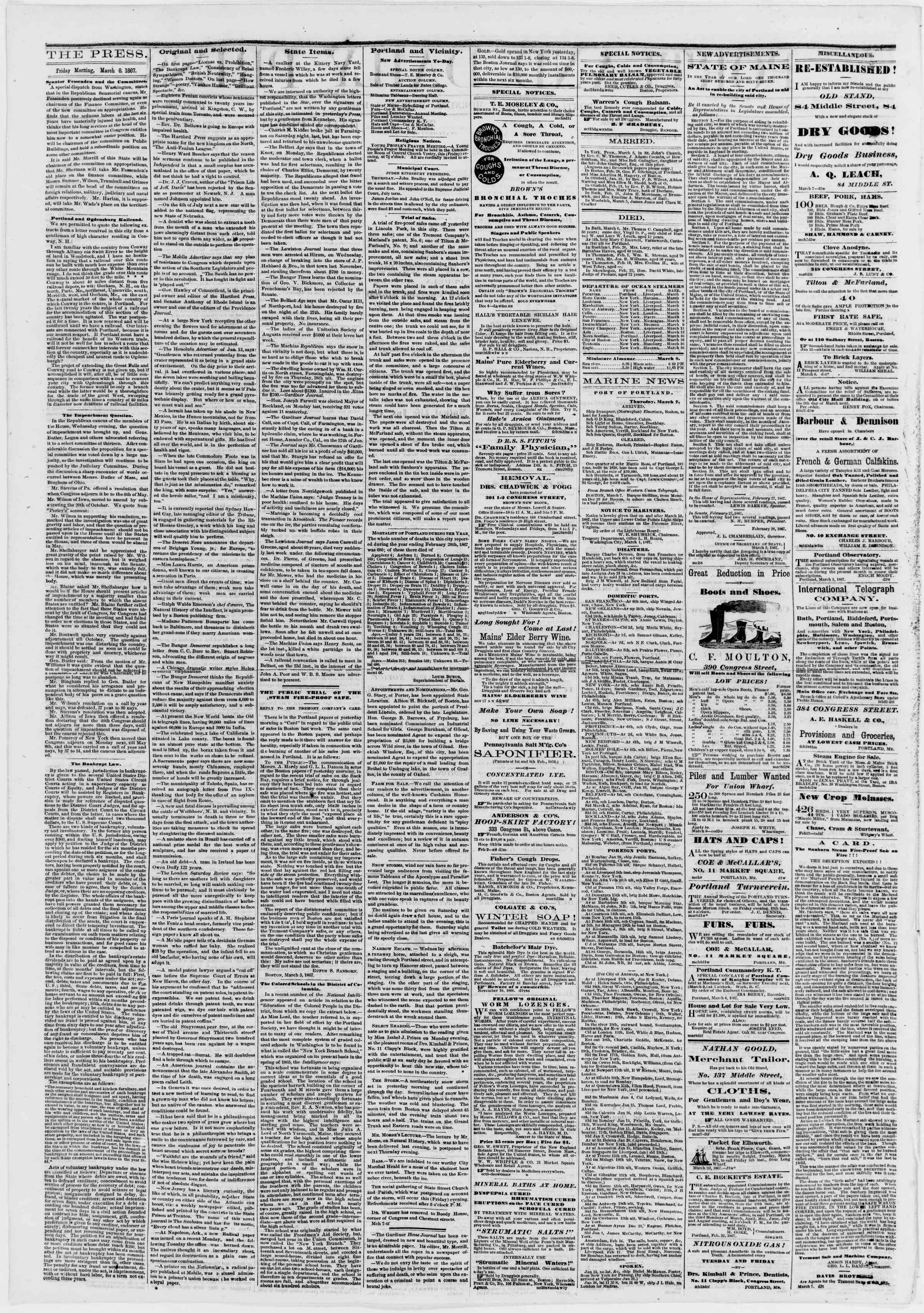 Newspaper of Portland Daily Press dated March 8, 1867 Page 2